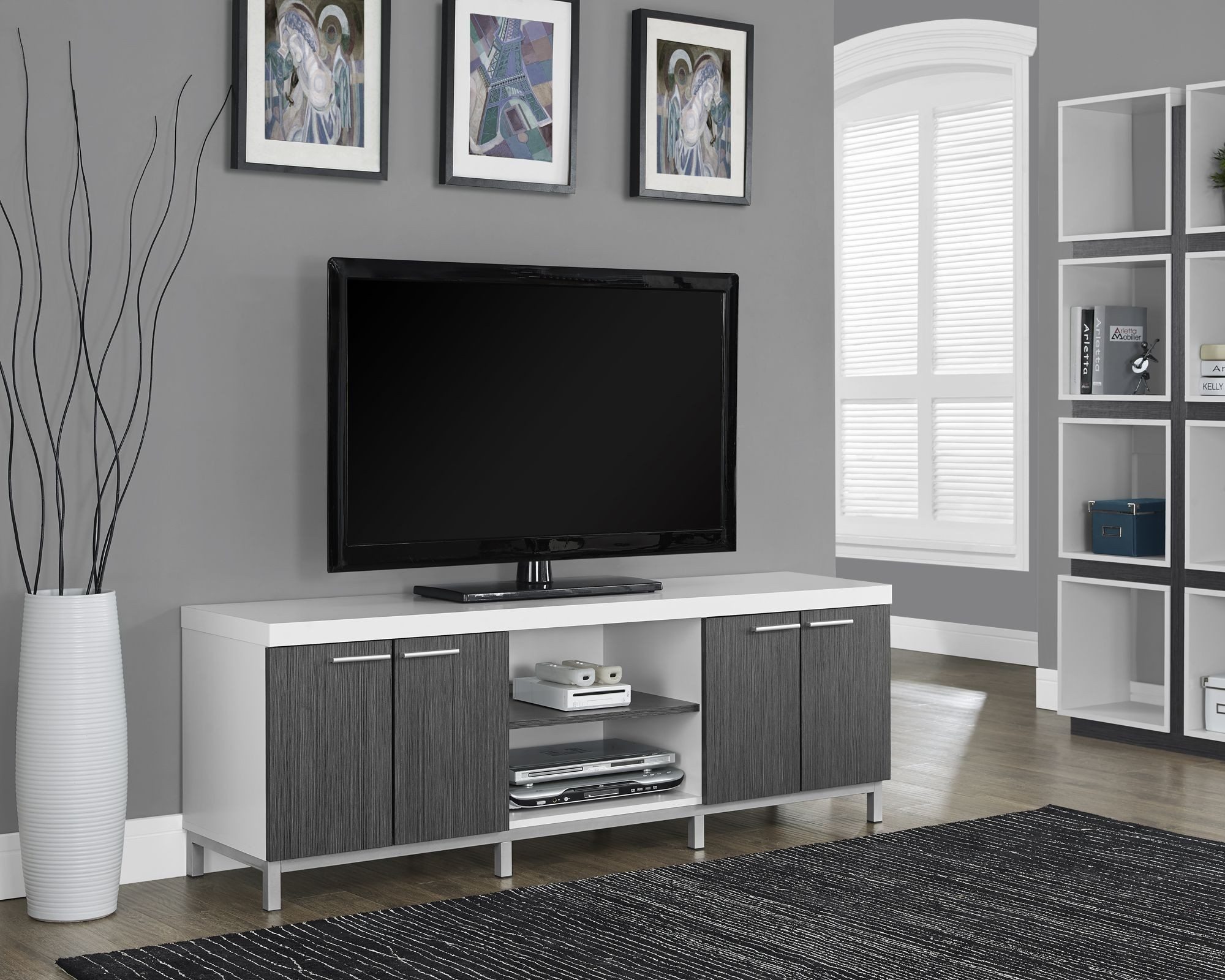 White Gray Hollow Core Tv Console From Monarch 2591
