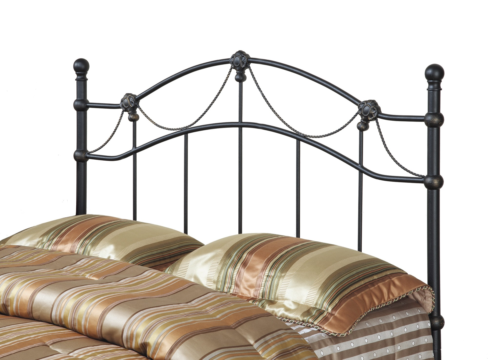 2621q Hammered Black Queen Full Size Metal Headboard
