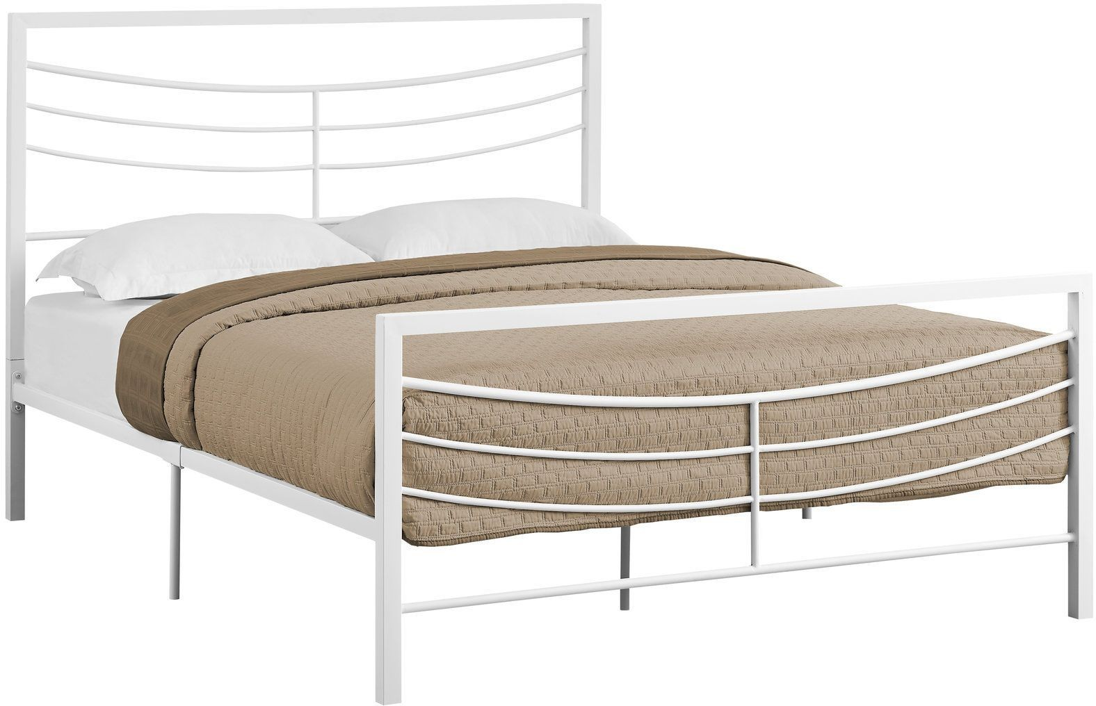 White Metal Bed Queen: 2640Q White Metal Queen Panel Bed From Monarch