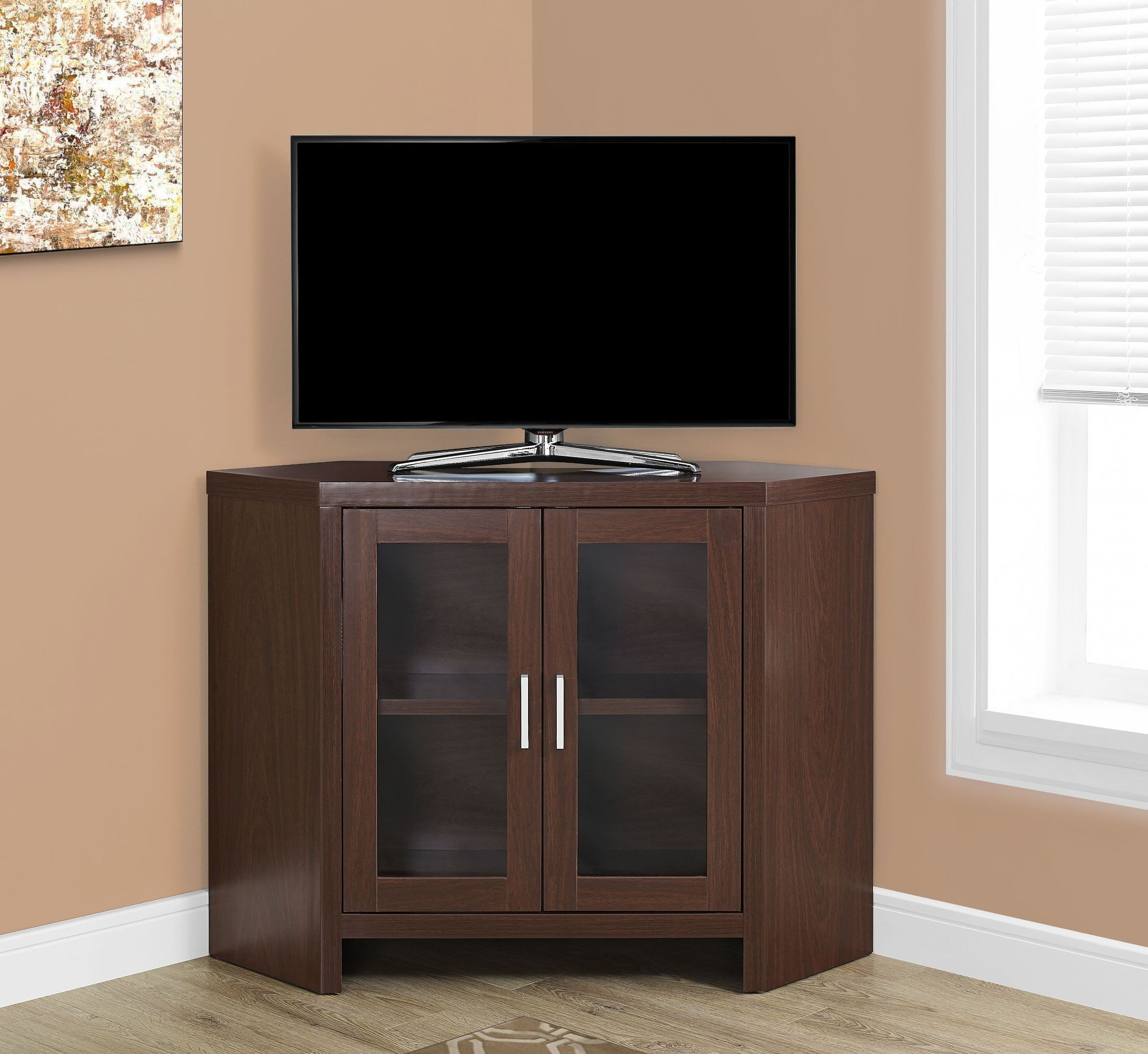 42 Quot Warm Cherry Corner Tv Stand From Monarch Coleman