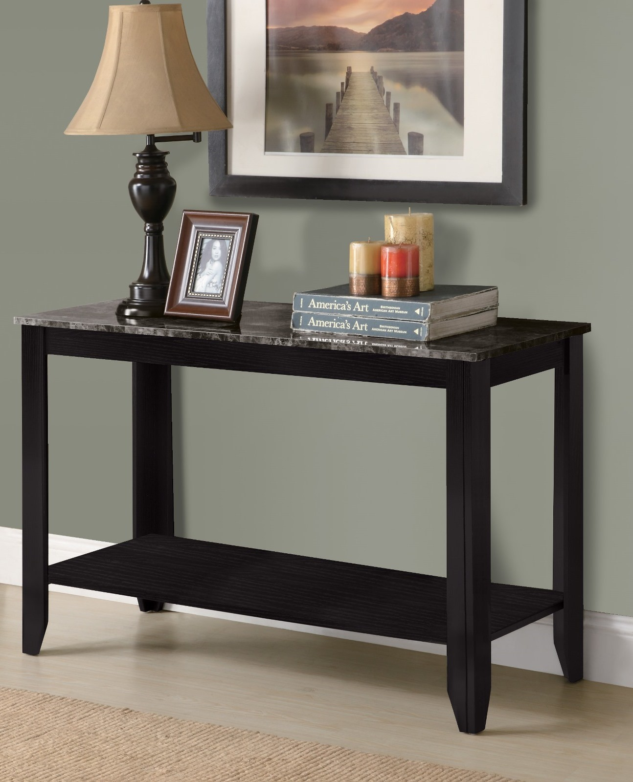 3131 black / grey sofa console table from monarch i 3131