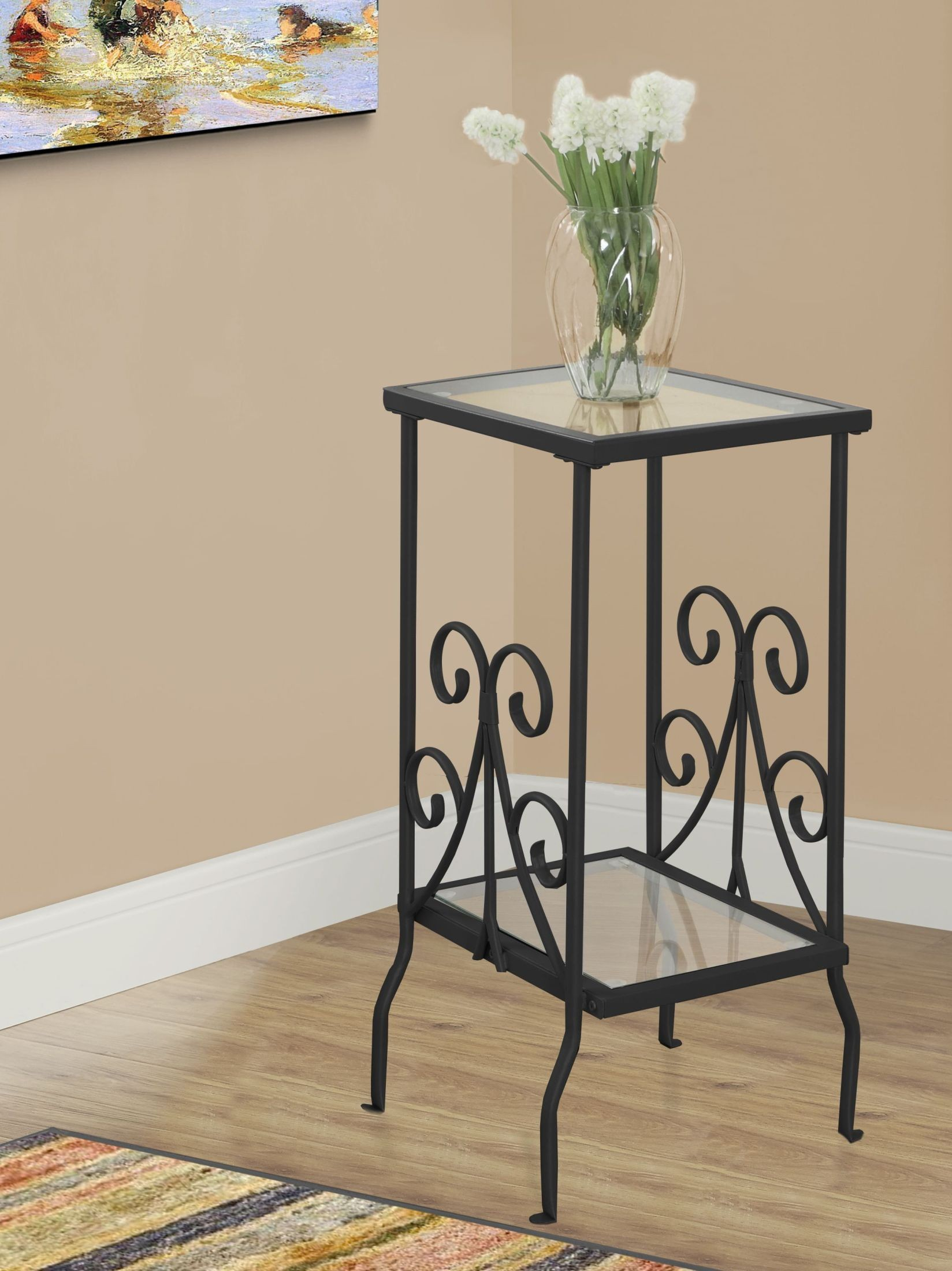 black metal and tempered glass accent table