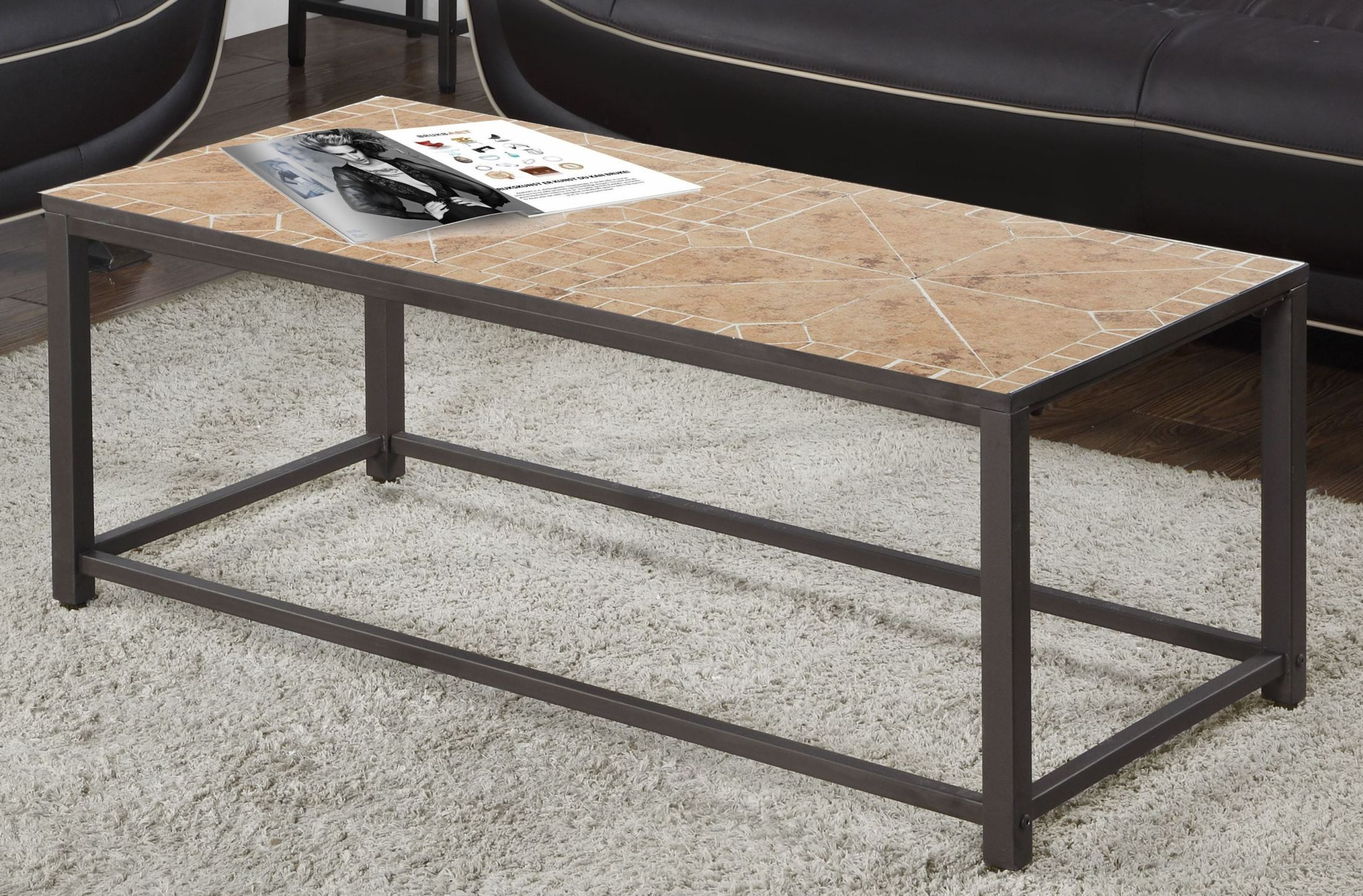 terracotta tile top coffee table from monarch coleman. Black Bedroom Furniture Sets. Home Design Ideas
