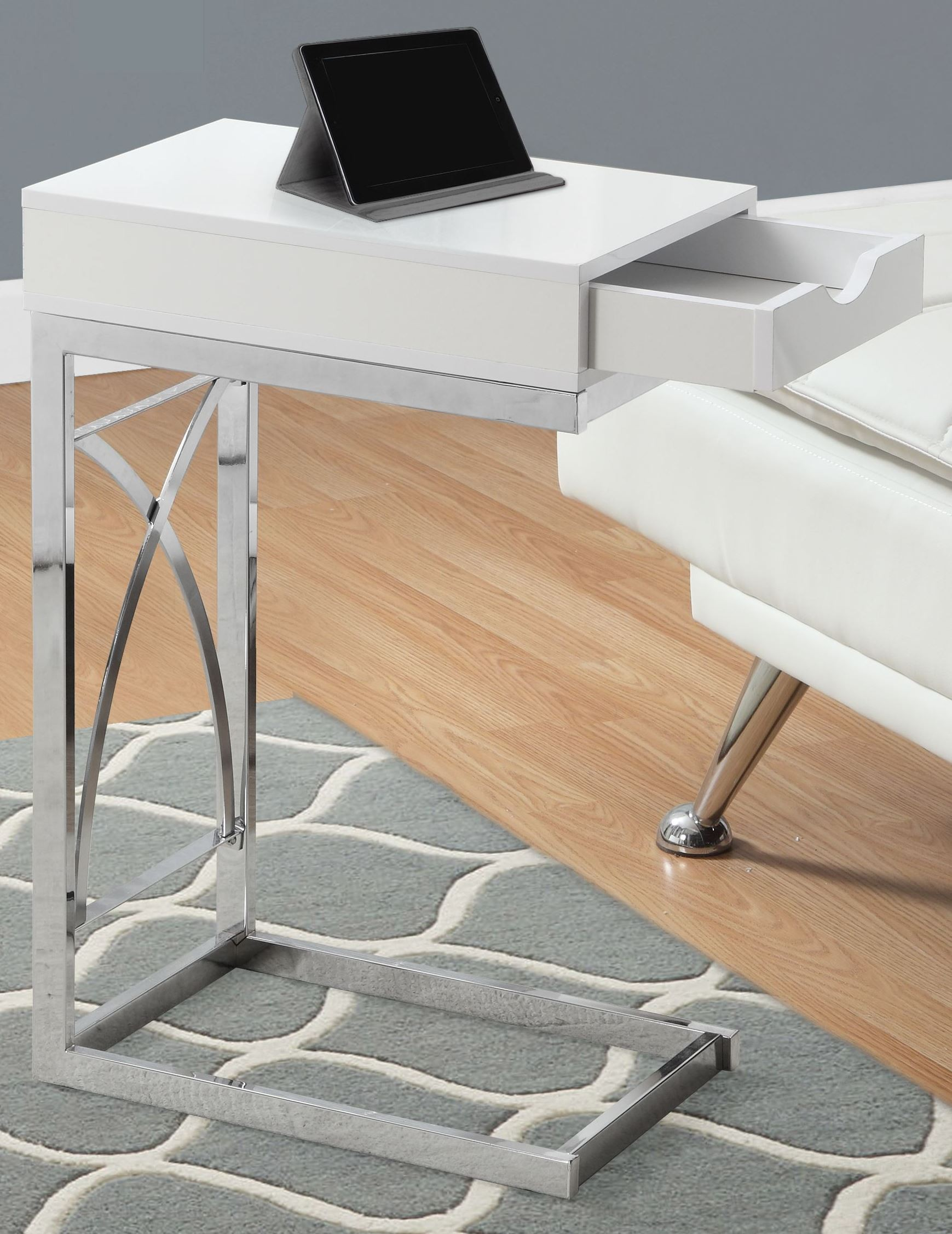 Glossy White Drawer Accent Table, 3170, Monarch