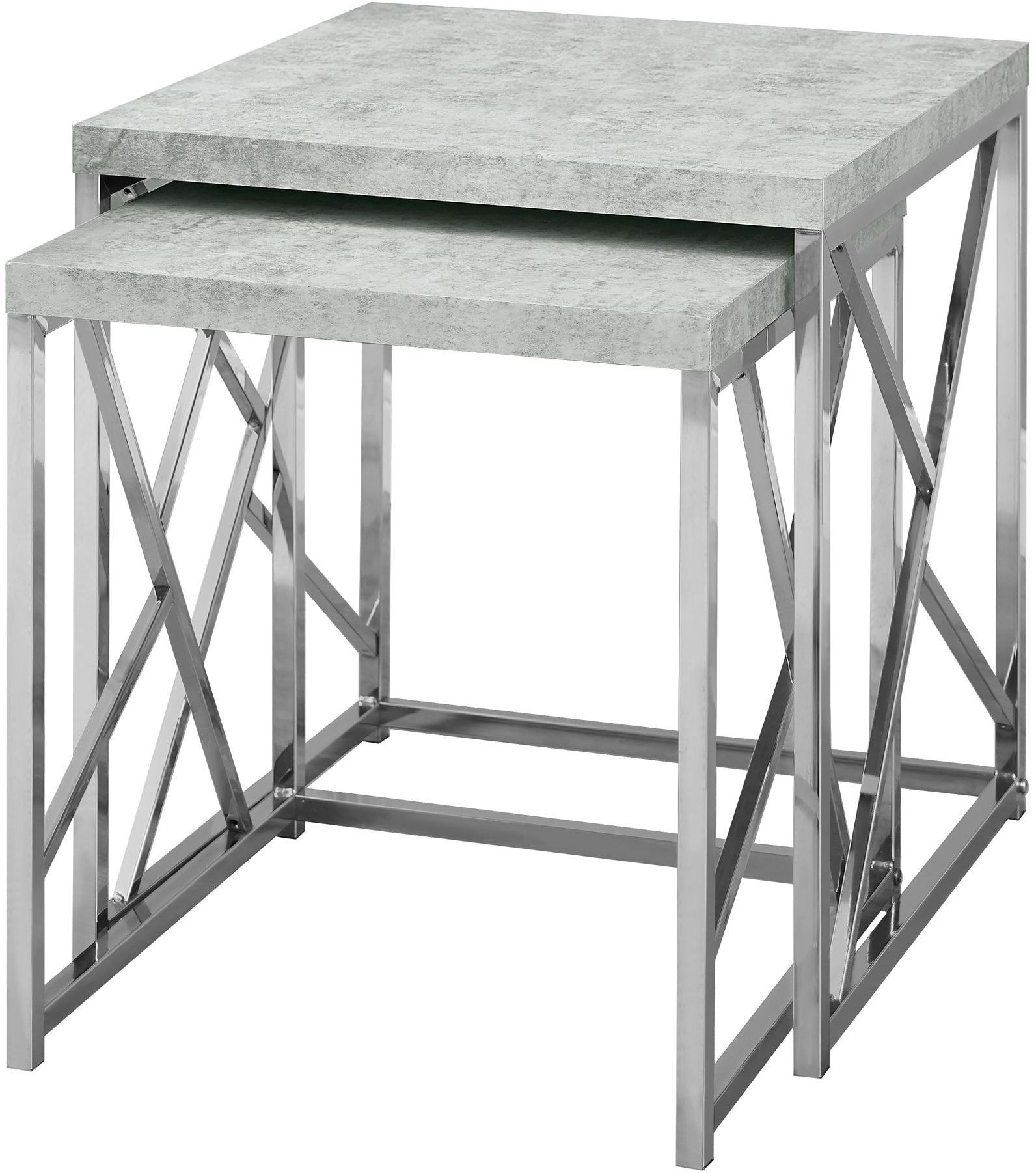 Grey cement and chrome metal nesting table set of from