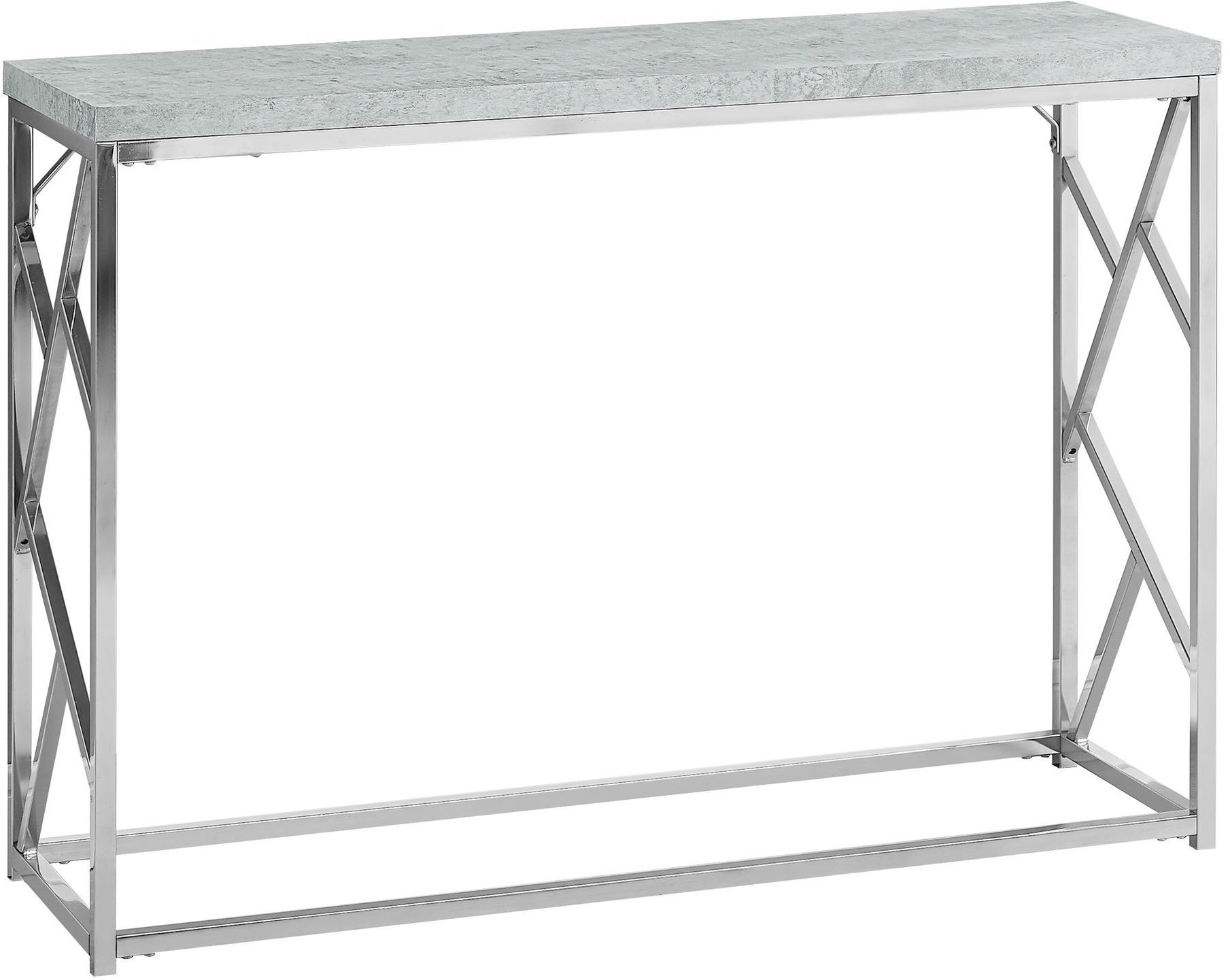 Grey cement metal accent sofa table from monarch coleman for Sofa table grey