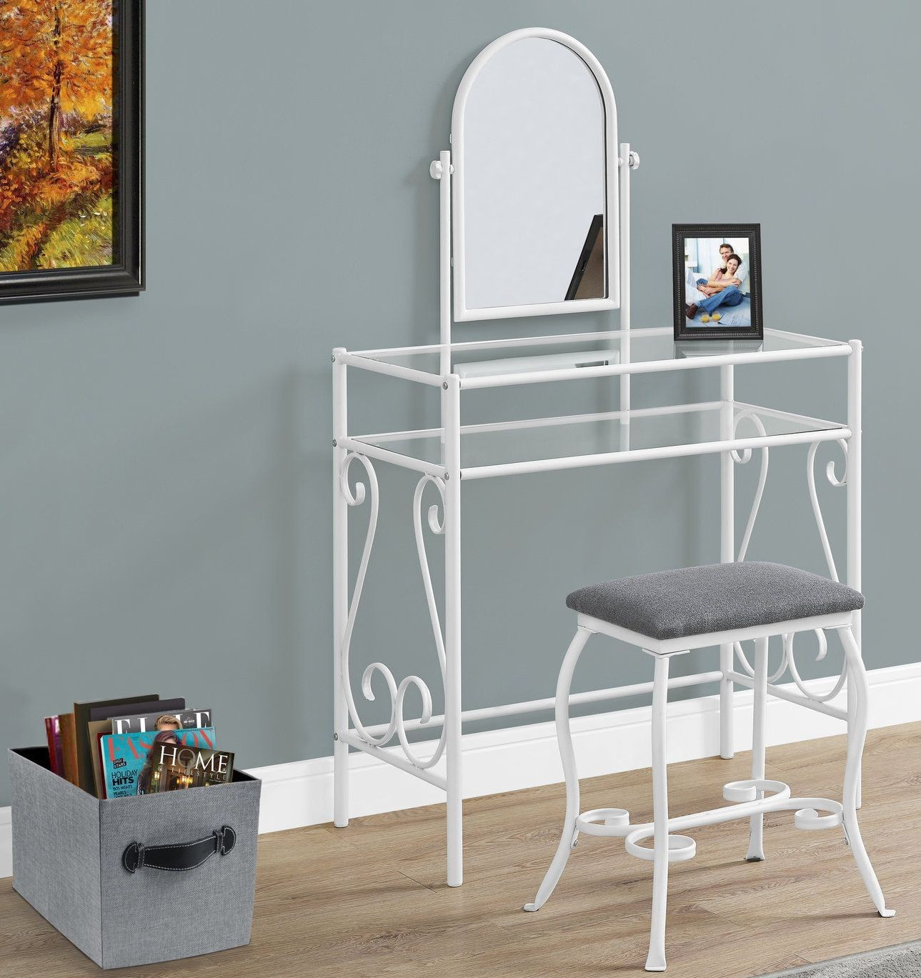white metal vanity set. White Metal Vanity Set from Monarch  Coleman Furniture