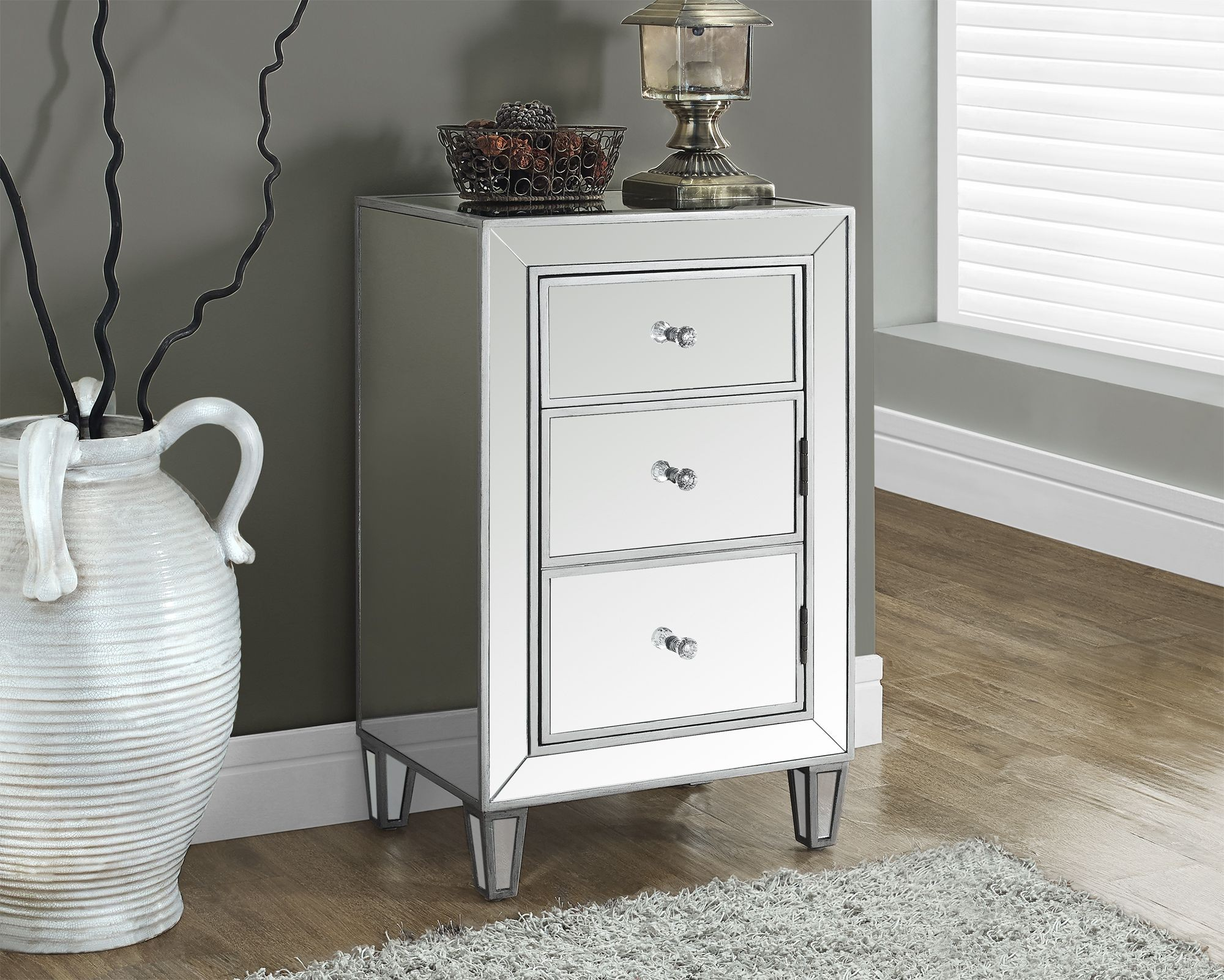 "Brushed Silver 29"" Mirrored Accent Table From Monarch"