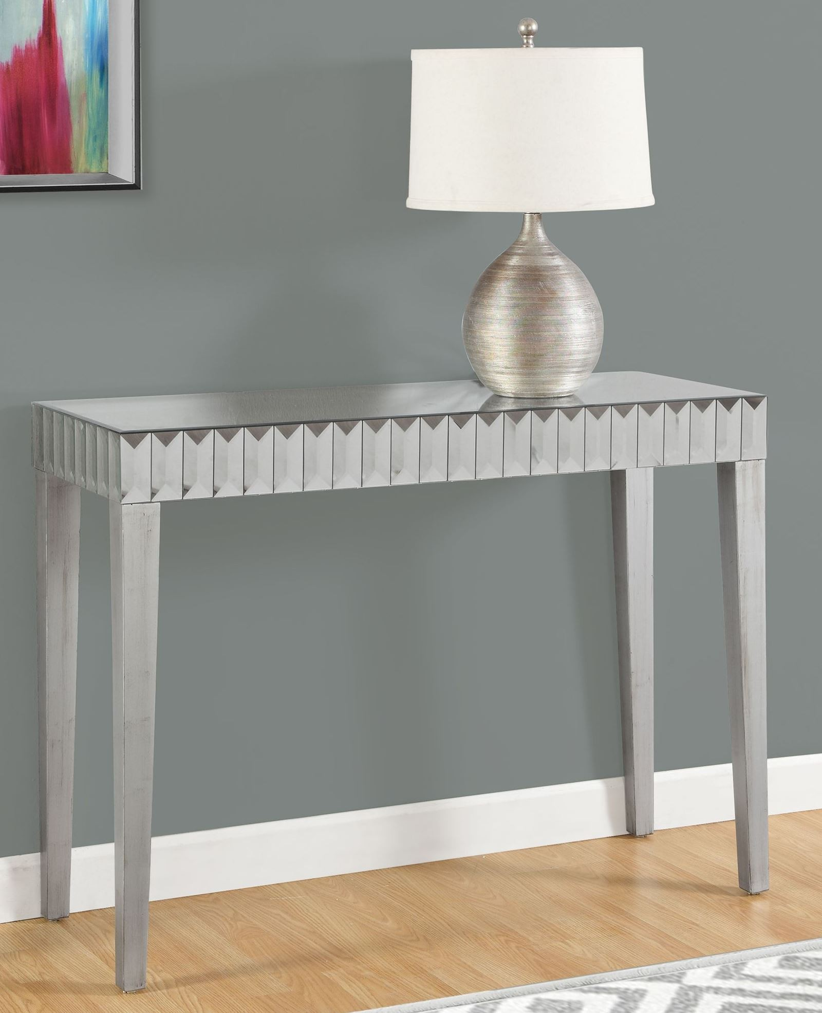 Brushed silver 42 console table from monarch coleman for 42 sofa table