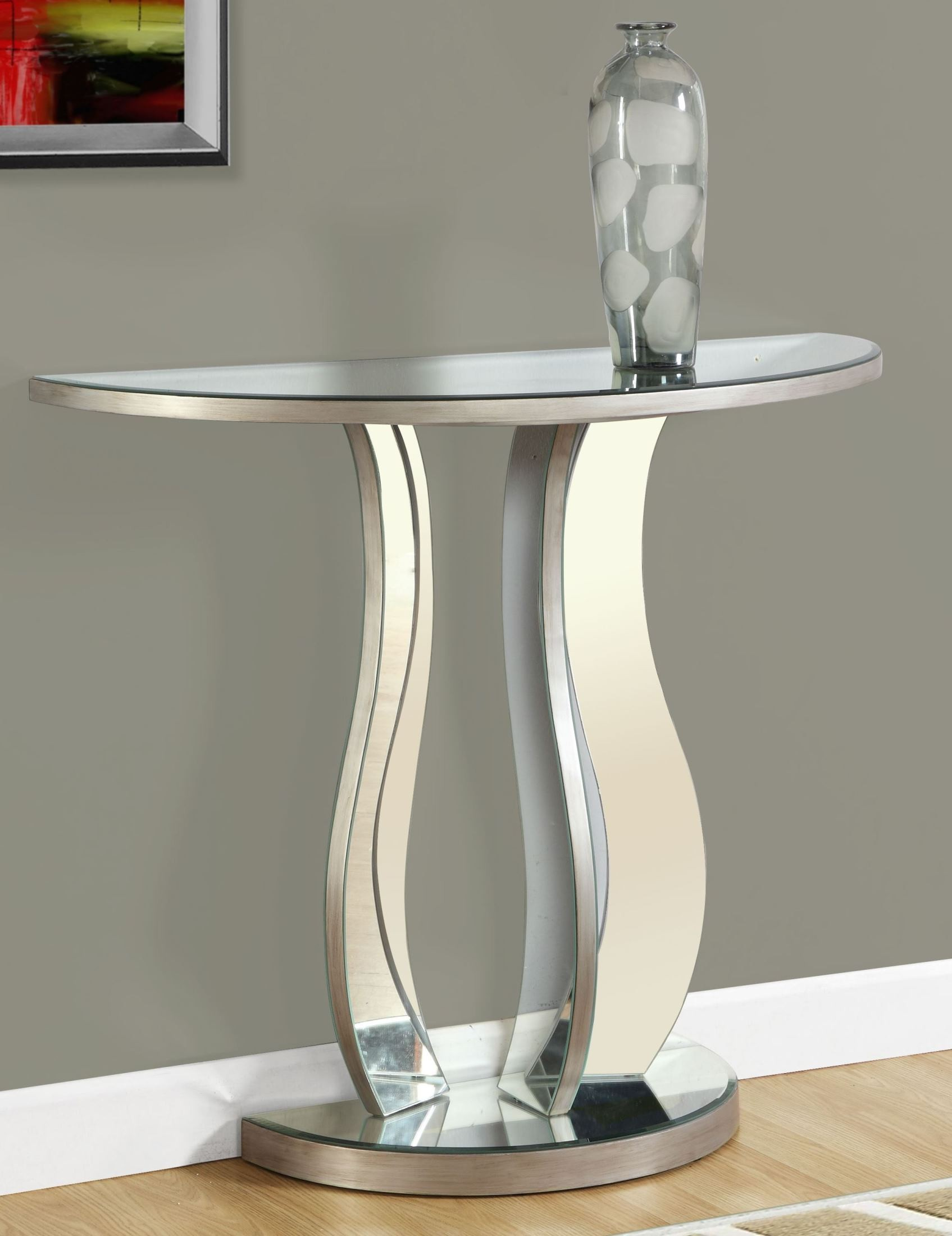 Brushed Silver 36 Quot Console Table From Monarch Coleman