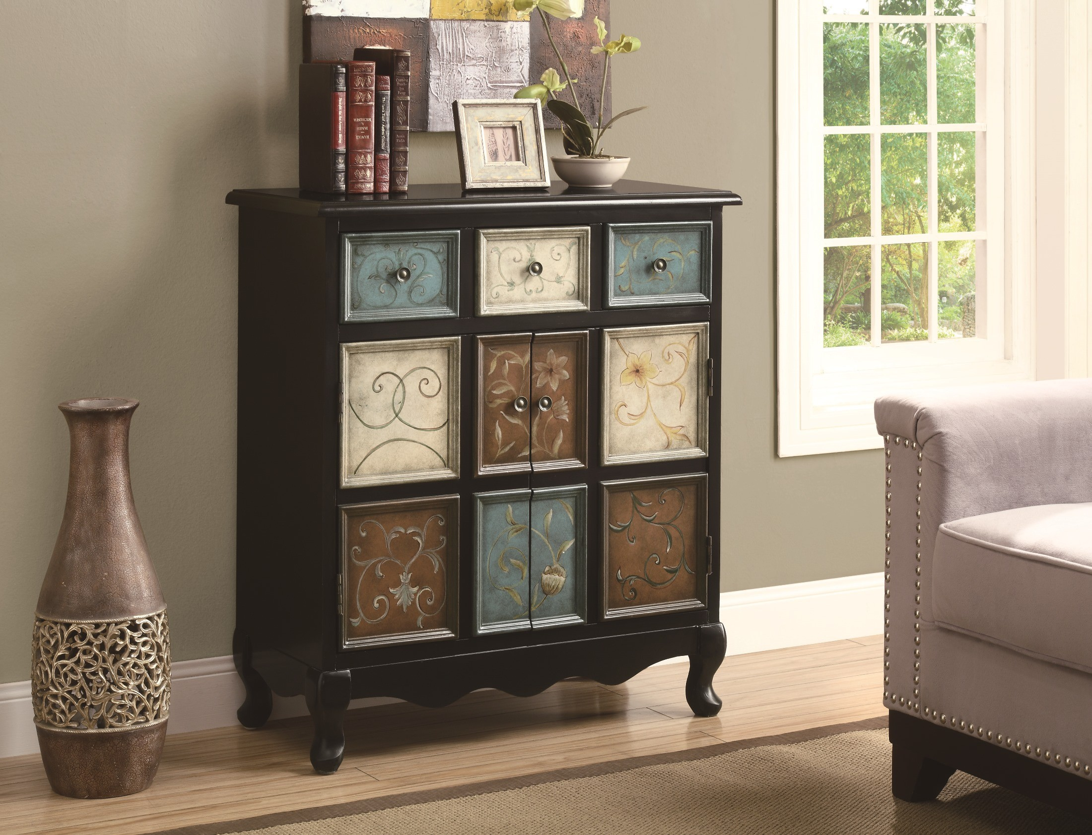 3893 Distressed Black / Multi Color Apothecary Bombay Chest