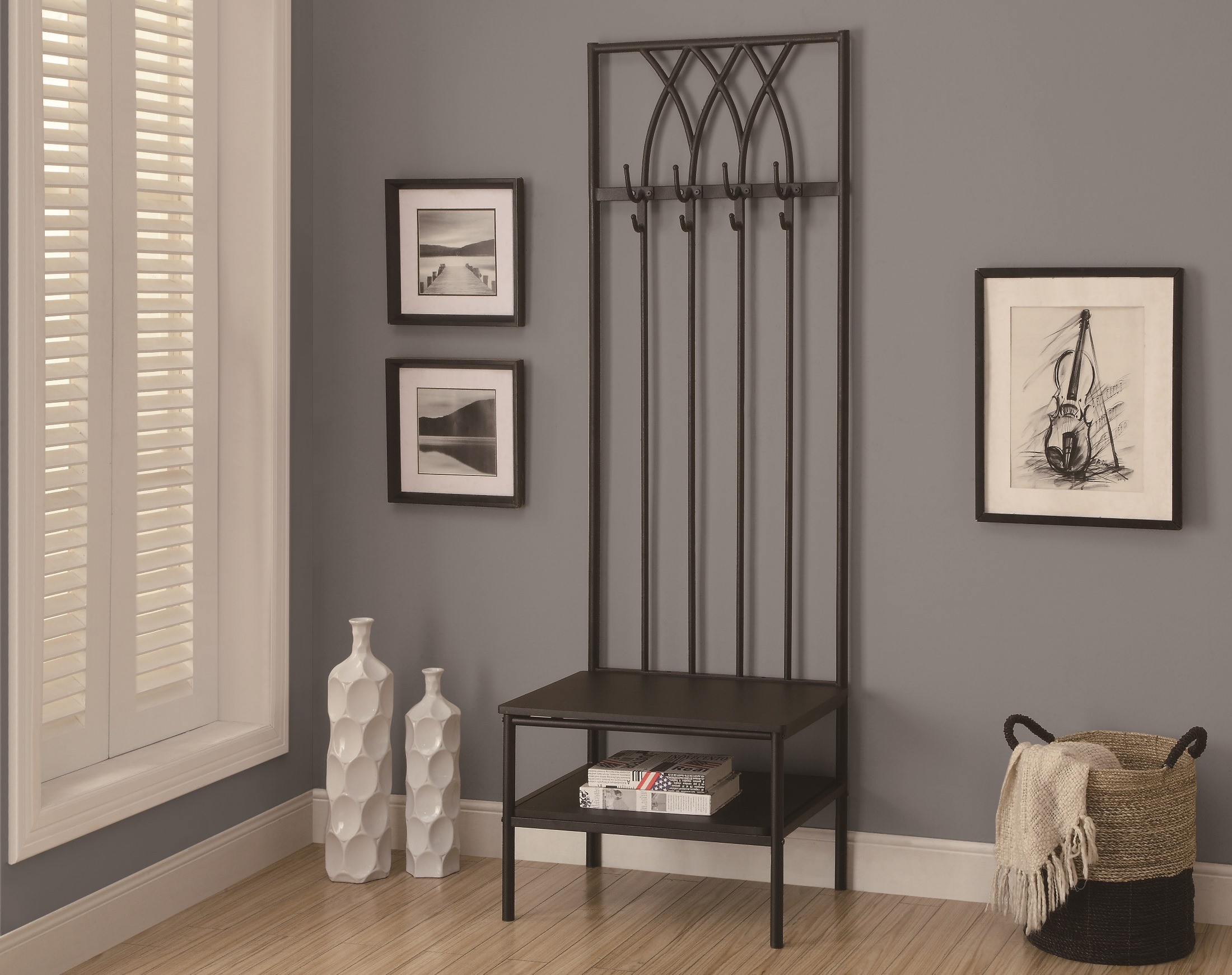 4540 Black Hammered Metal Hall Entry Bench From Monarch I 4540 Coleman Furniture