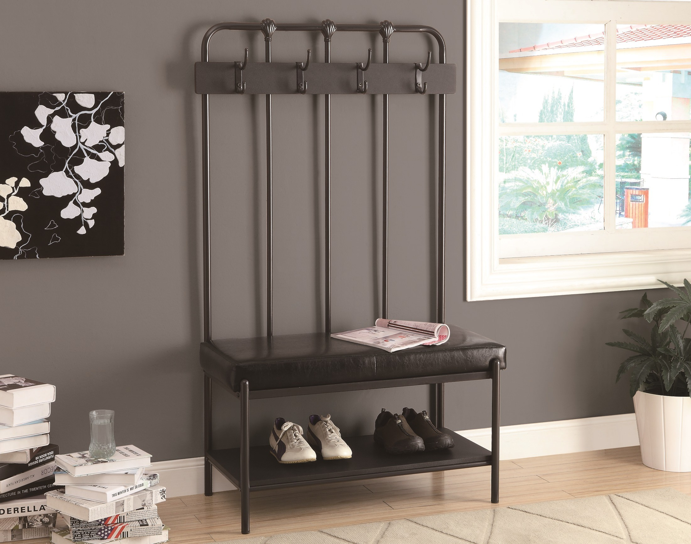 4545 Charcoal Grey Metal Hall Entry Bench From Monarch I 4545 Coleman Furniture