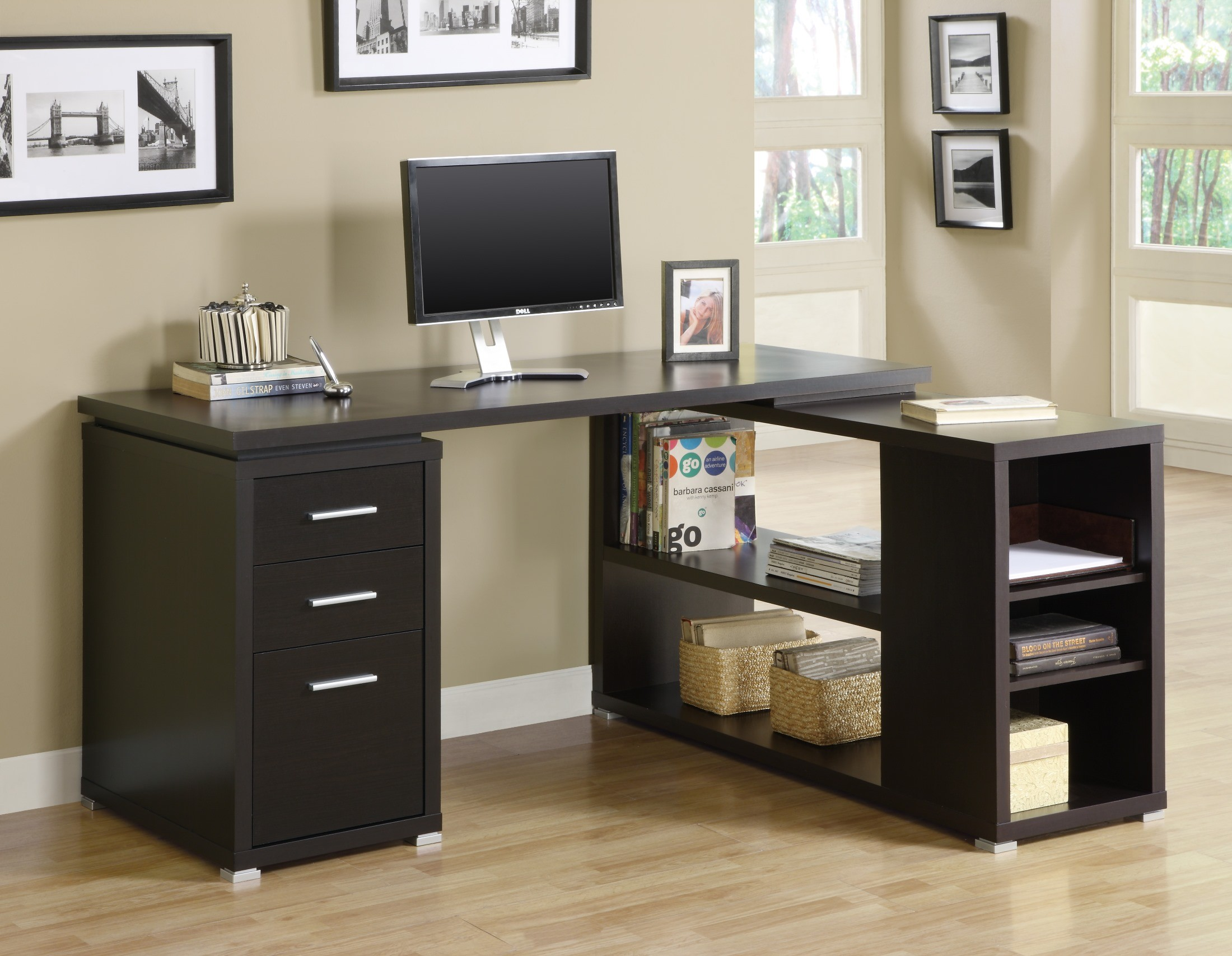 7019 Cappuccino Left Or Right Facing Corner Desk From