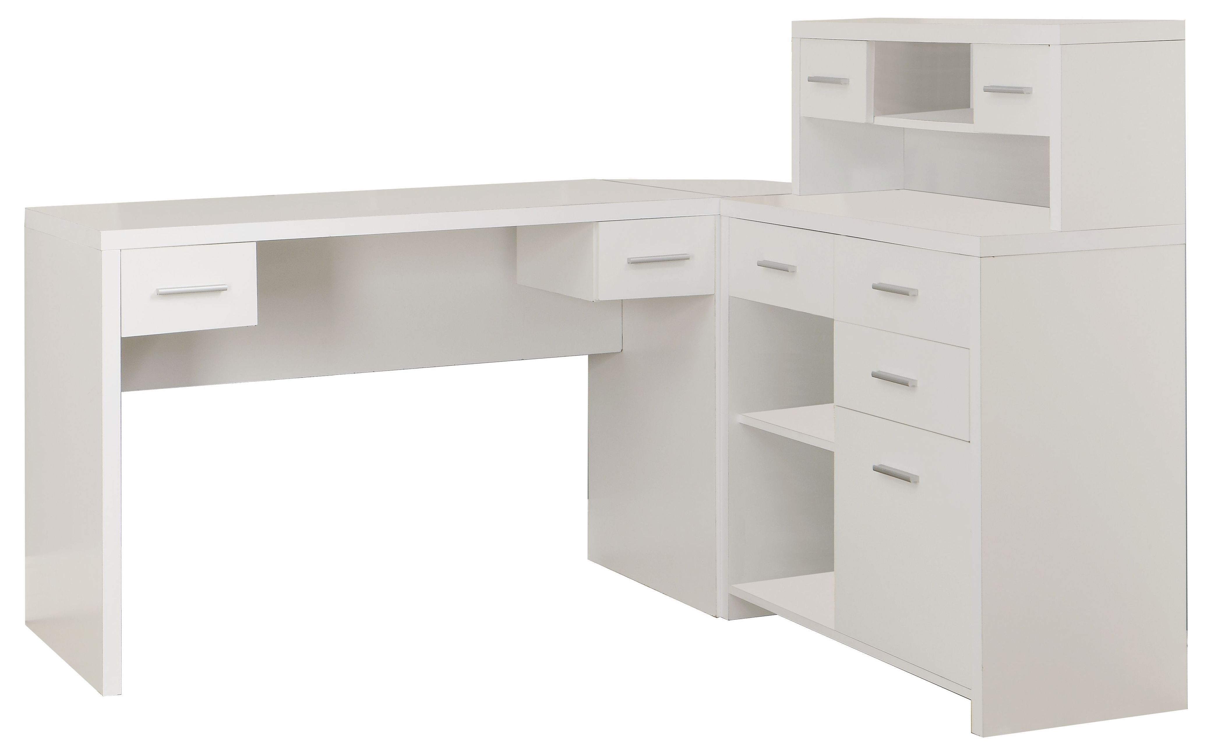 7028 White L Shaped Home Office Desk From Monarch (I 7028