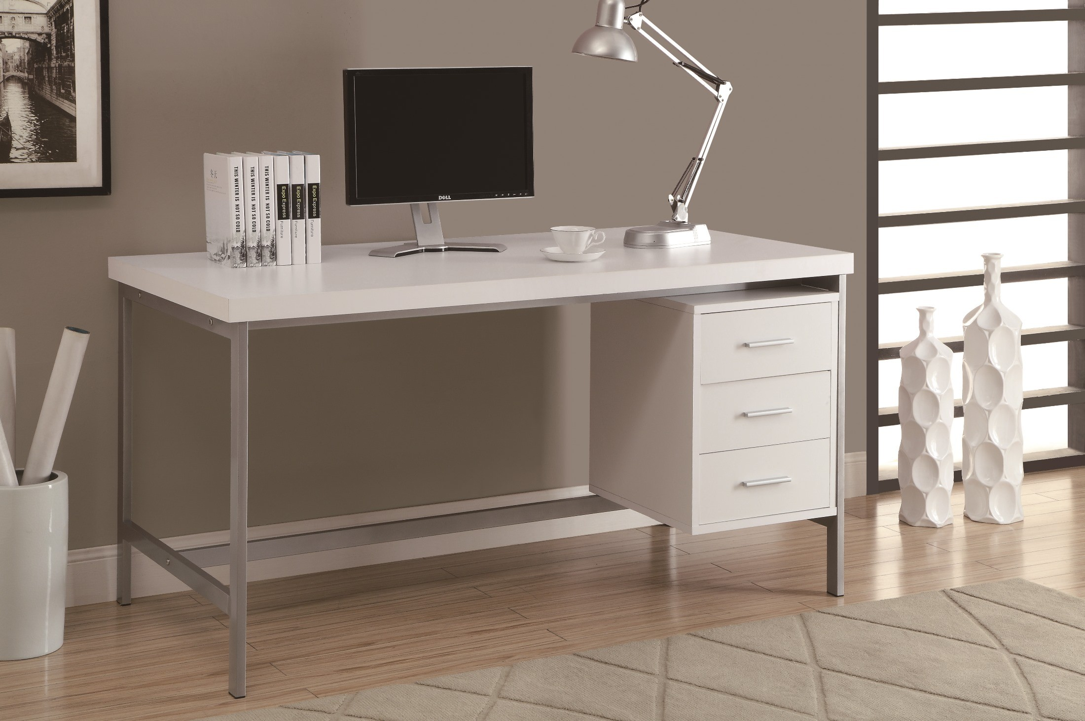7046 White Silver Metal 60 Quot Office Desk From Monarch I