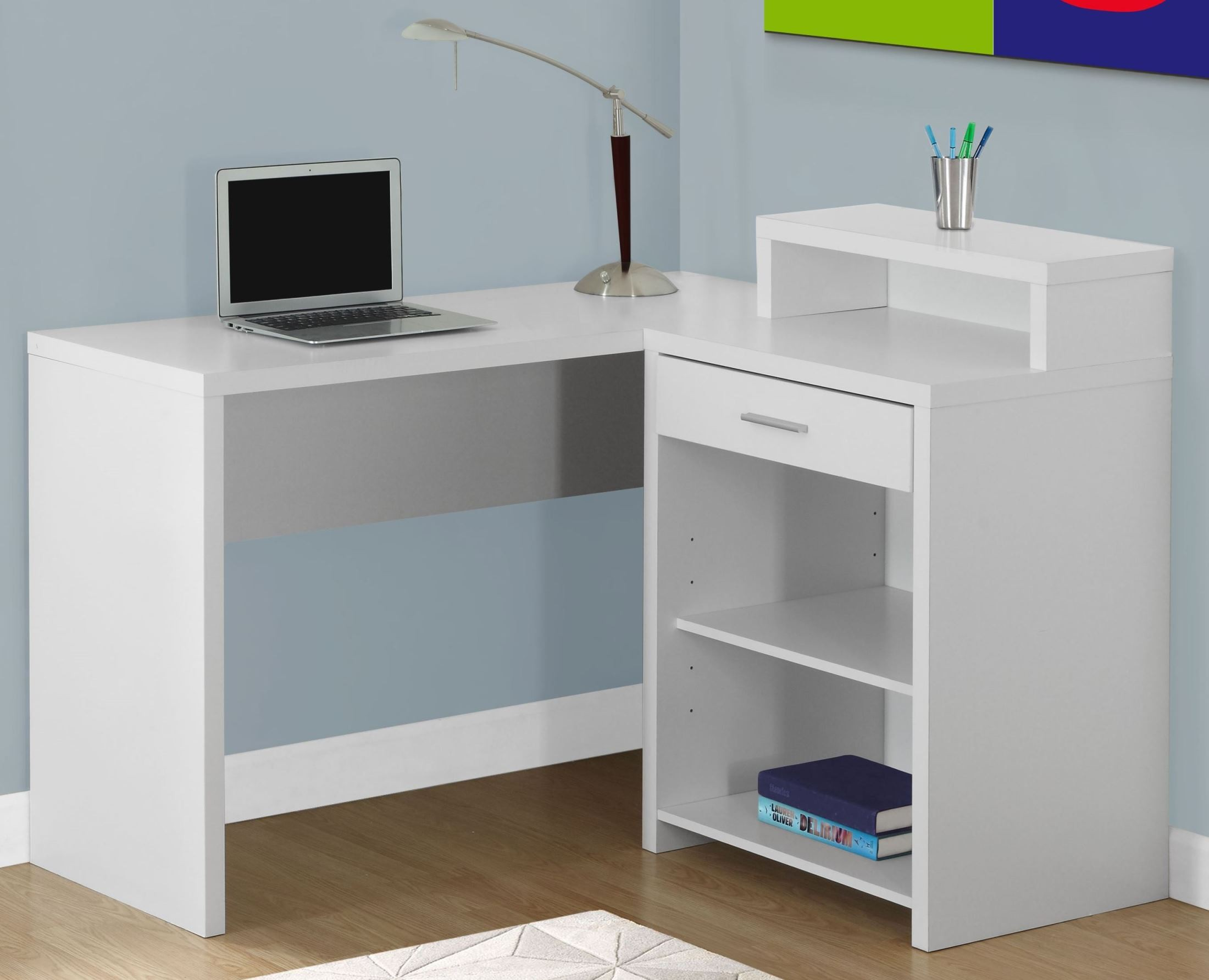 White Corner Storage Computer Desk From Monarch