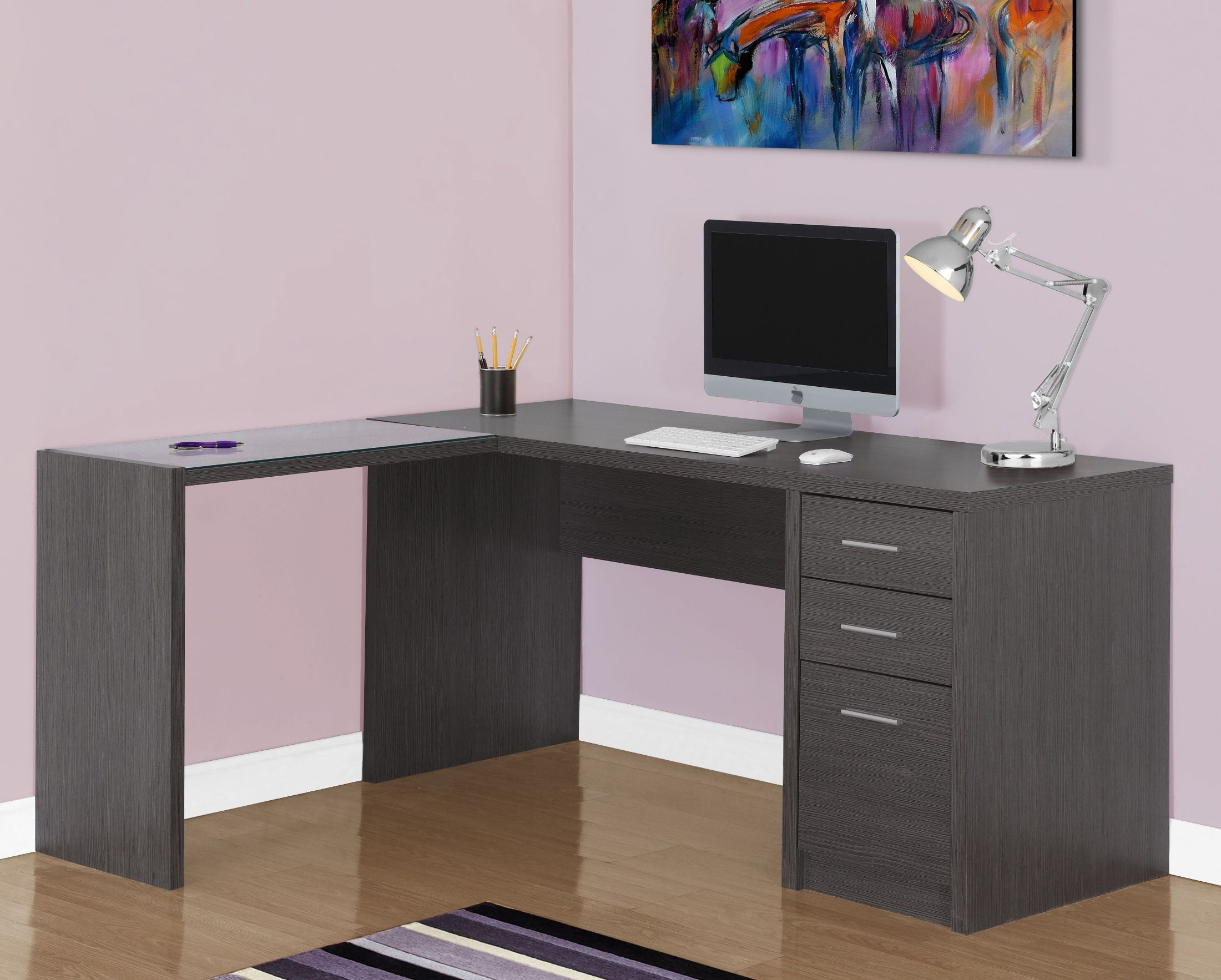 Gray Corner Computer Desk From Monarch Coleman Furniture