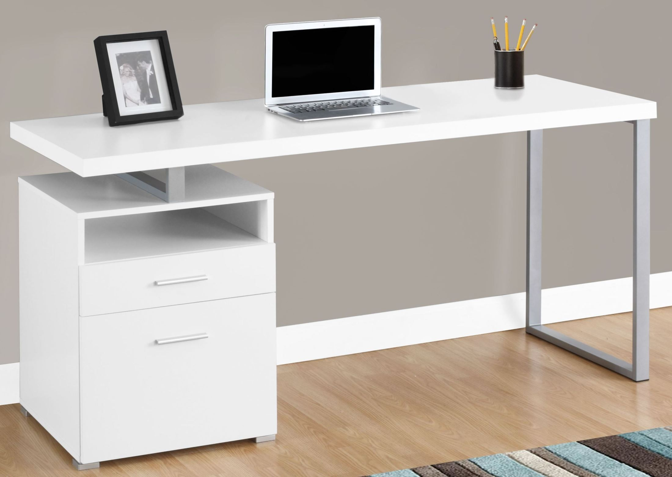 "White 60"" Computer Desk from Monarch | Coleman Furniture"