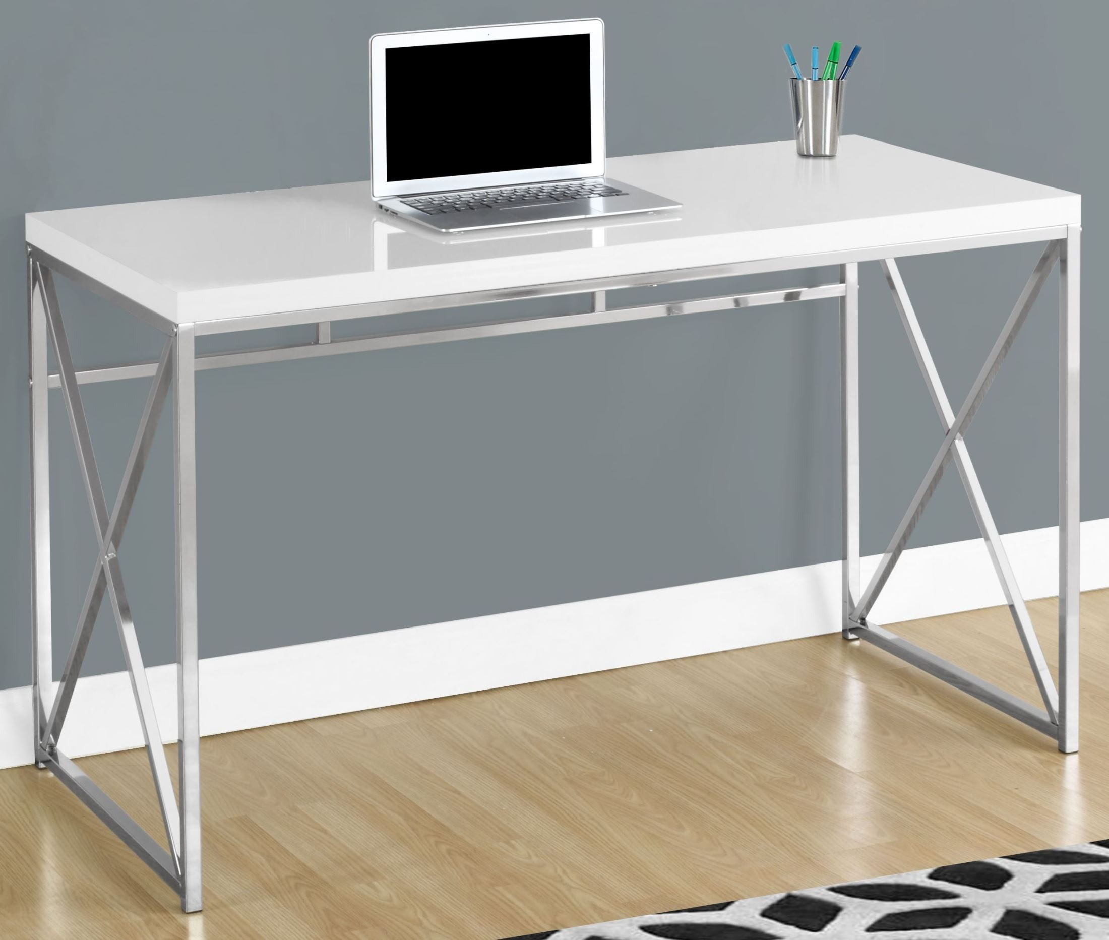 Glossy White 48 Quot Computer Desk From Monarch Coleman