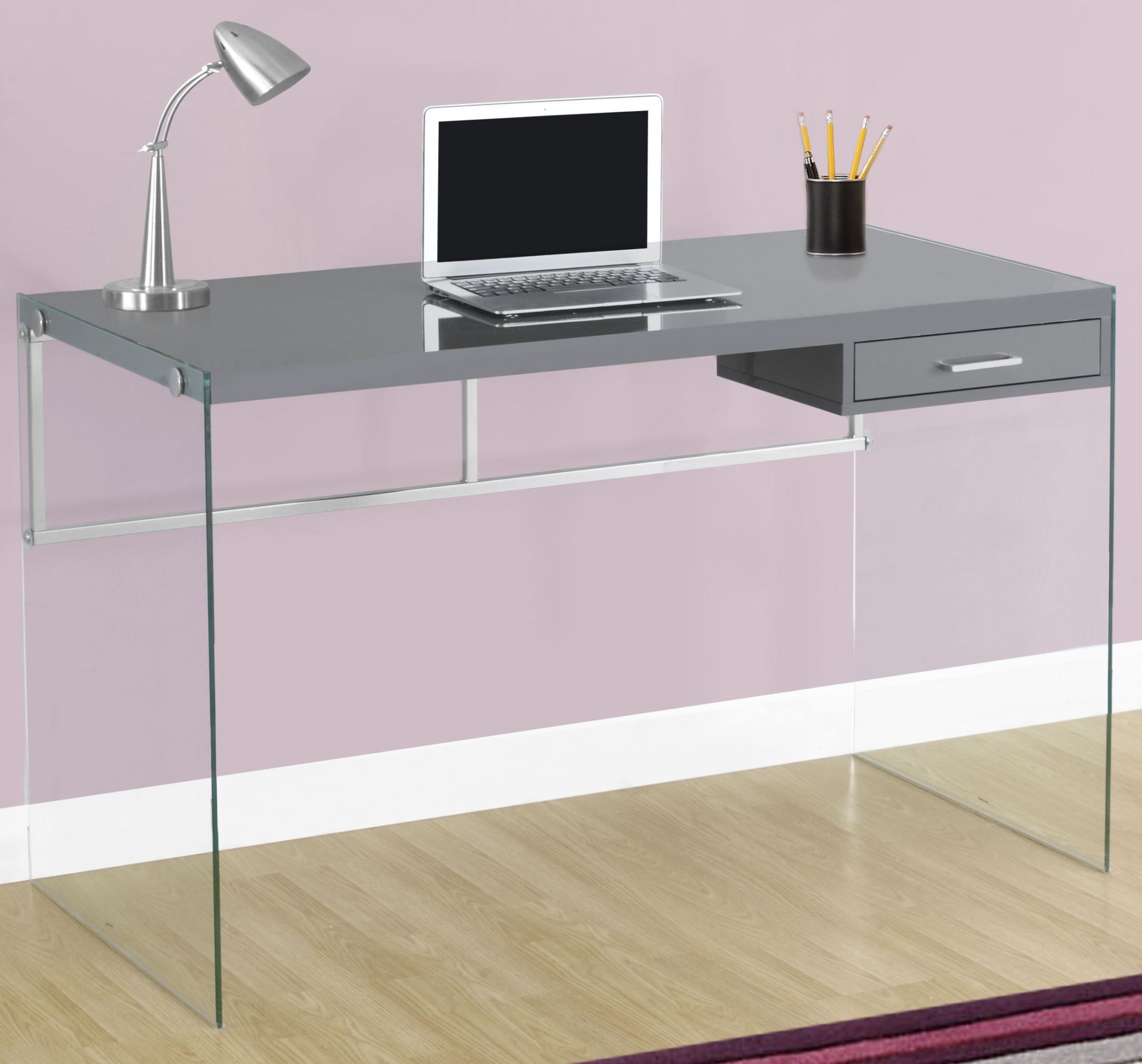 Glossy Gray 48 Quot Computer Desk From Monarch Coleman Furniture