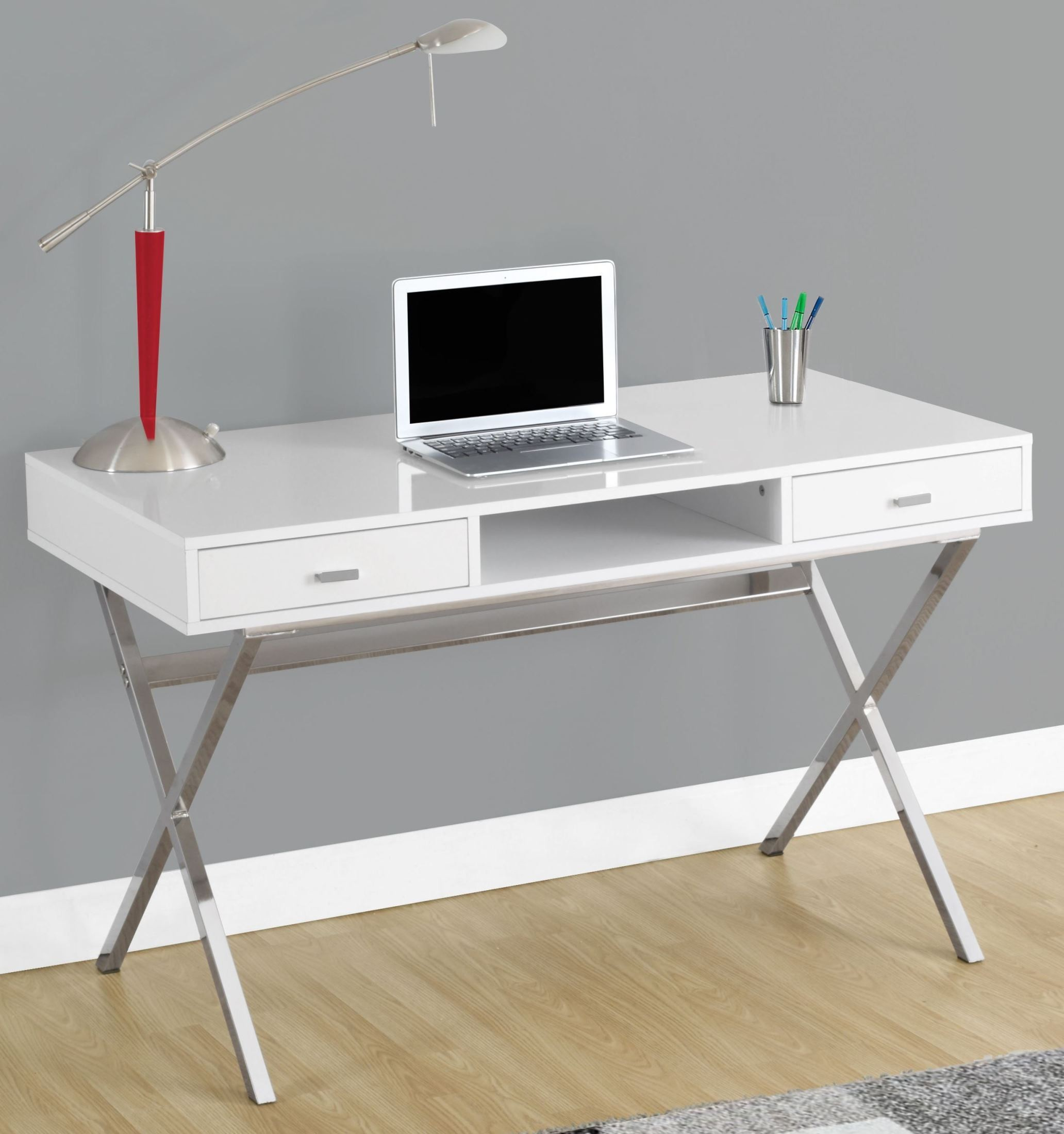 Glossy White 48 Quot Storage Computer Desk From Monarch