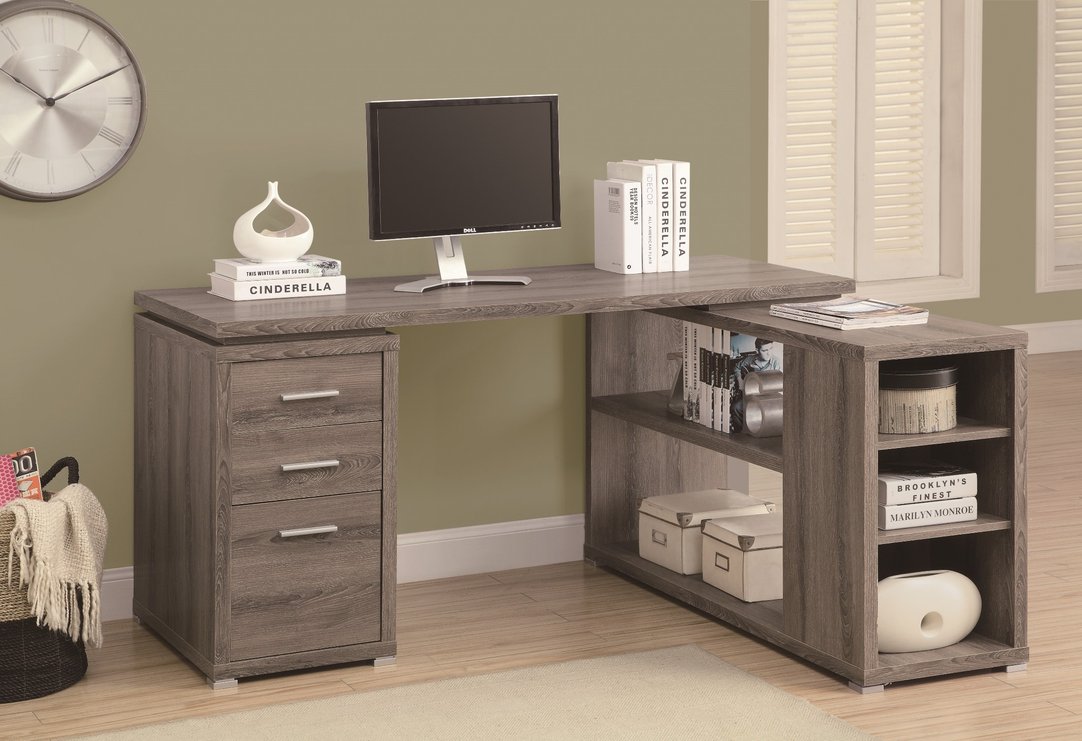 7319 Dark Taupe Left Right Facing Corner Desk From