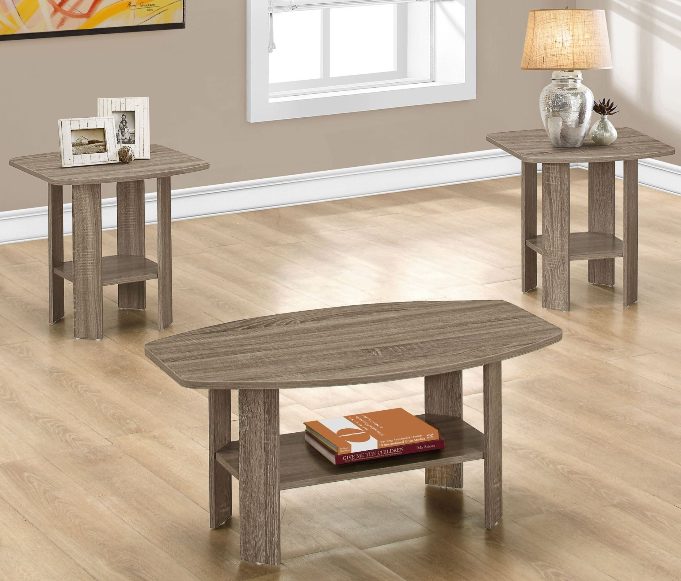 Taupe Wicker Coffee Table: Dark Taupe 3 Piece Occasional Table Set From Monarch