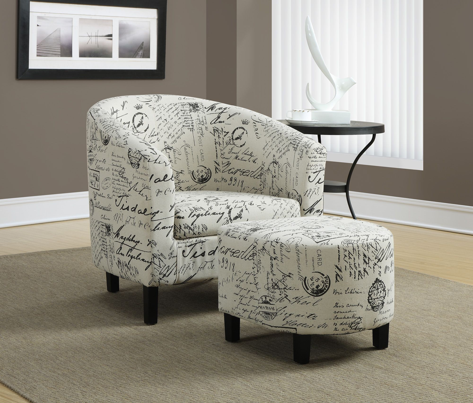 Vintage French Fabric Accent Chair With Ottoman From