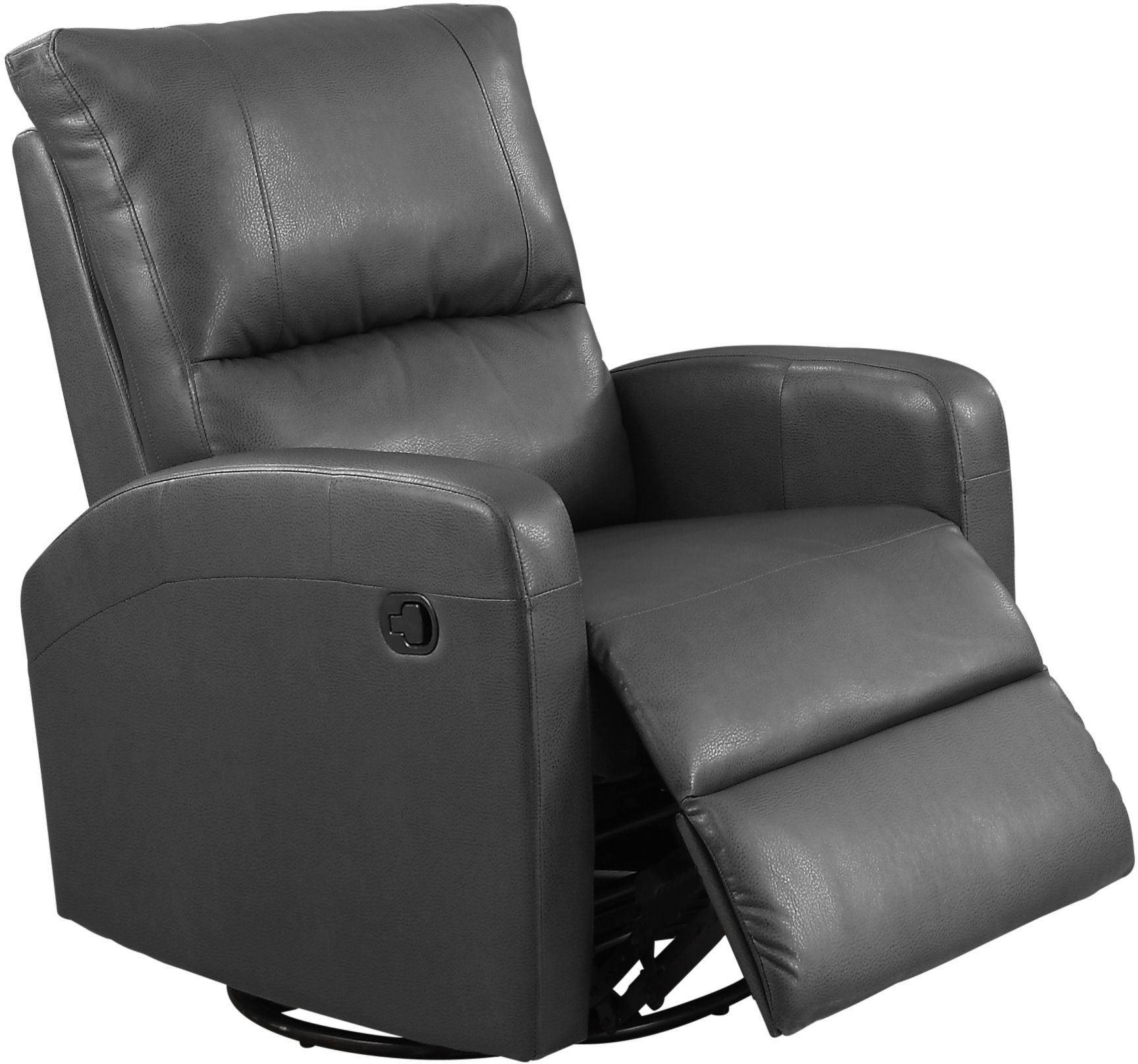 8084gy Charcoal Gray Bonded Leather Swivel Glider Recliner