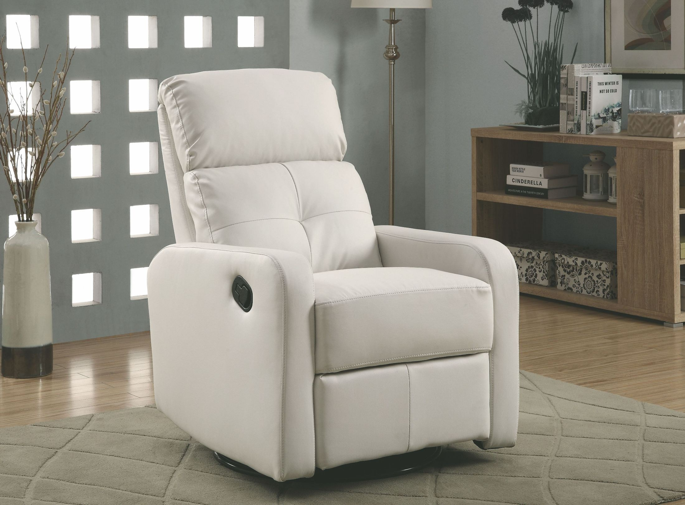leather glider chair white bonded leather swivel glider recliner from monarch 16636 | i 8085wh