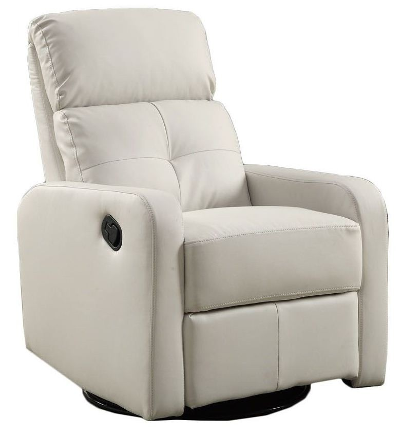 White Bonded Leather Swivel Glider Recliner From Monarch