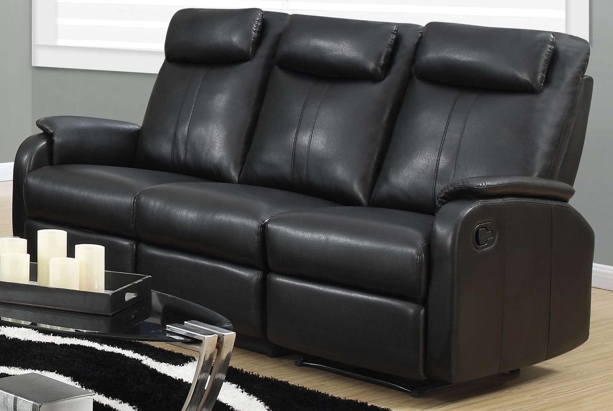 81bk 3 black bonded leather reclining sofa from monarch. Black Bedroom Furniture Sets. Home Design Ideas