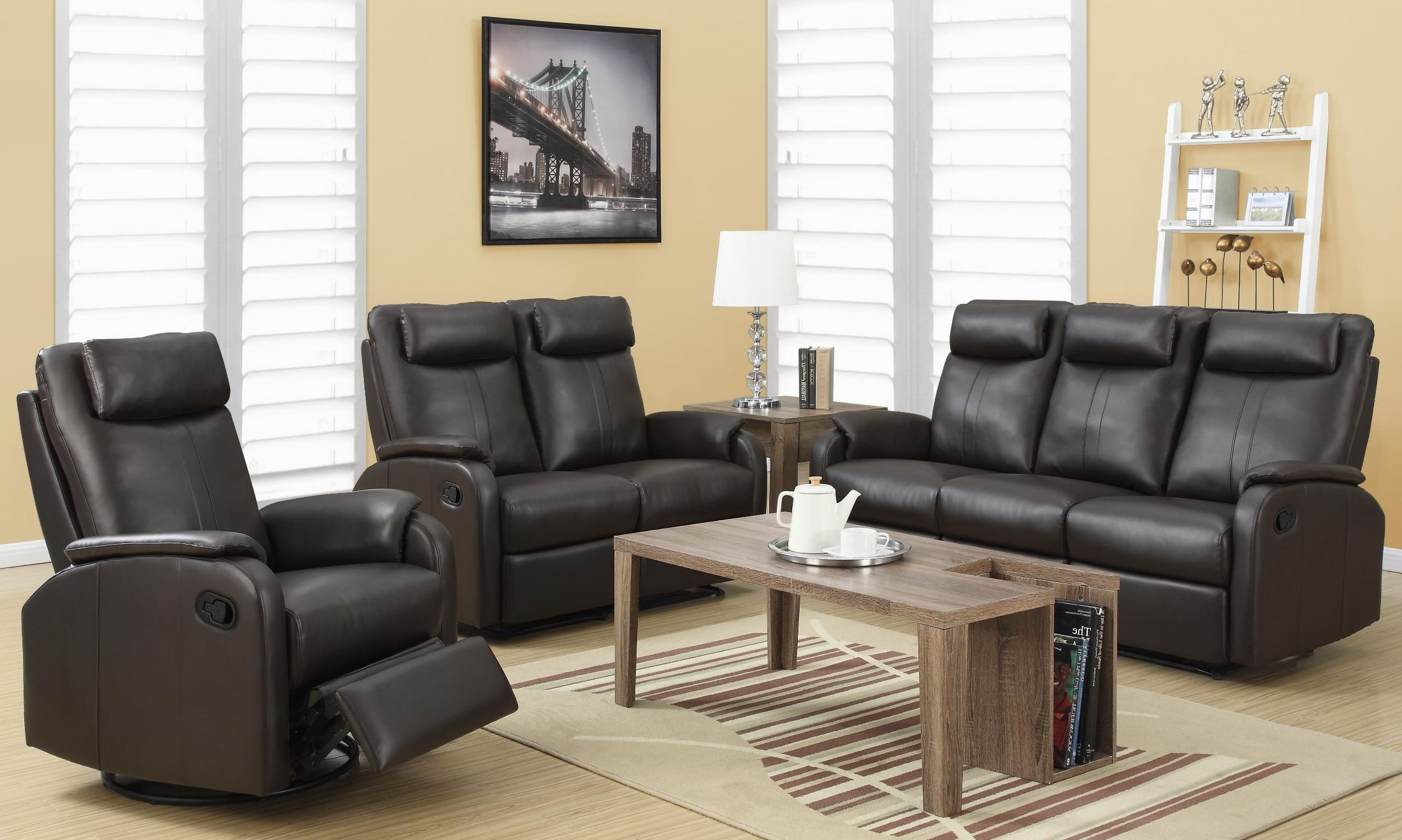 81br 3 brown bonded leather reclining living room set from monarch coleman furniture. Black Bedroom Furniture Sets. Home Design Ideas