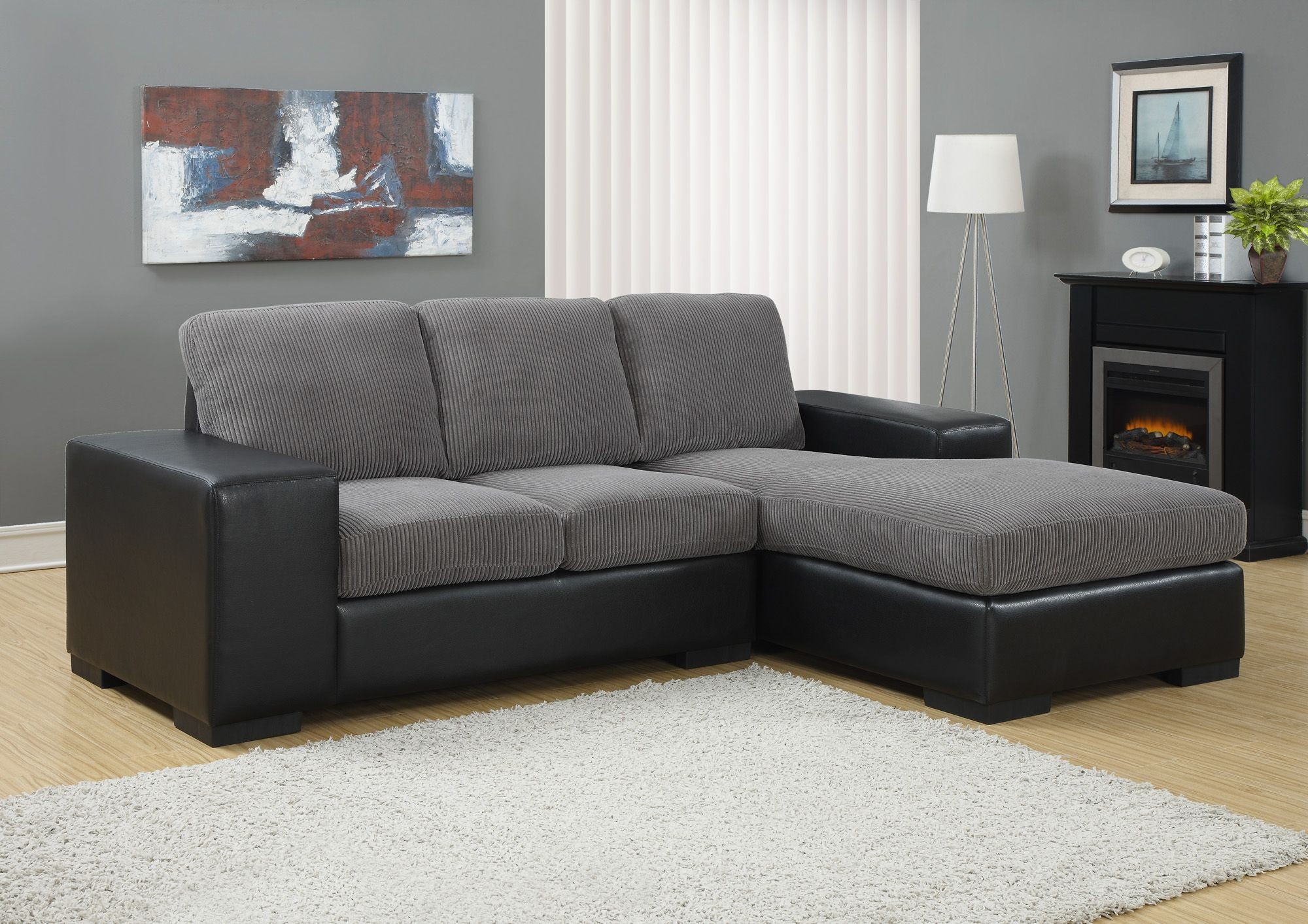 Charcoal gray corduroy black sofa sectional from monarch for Black fabric couches