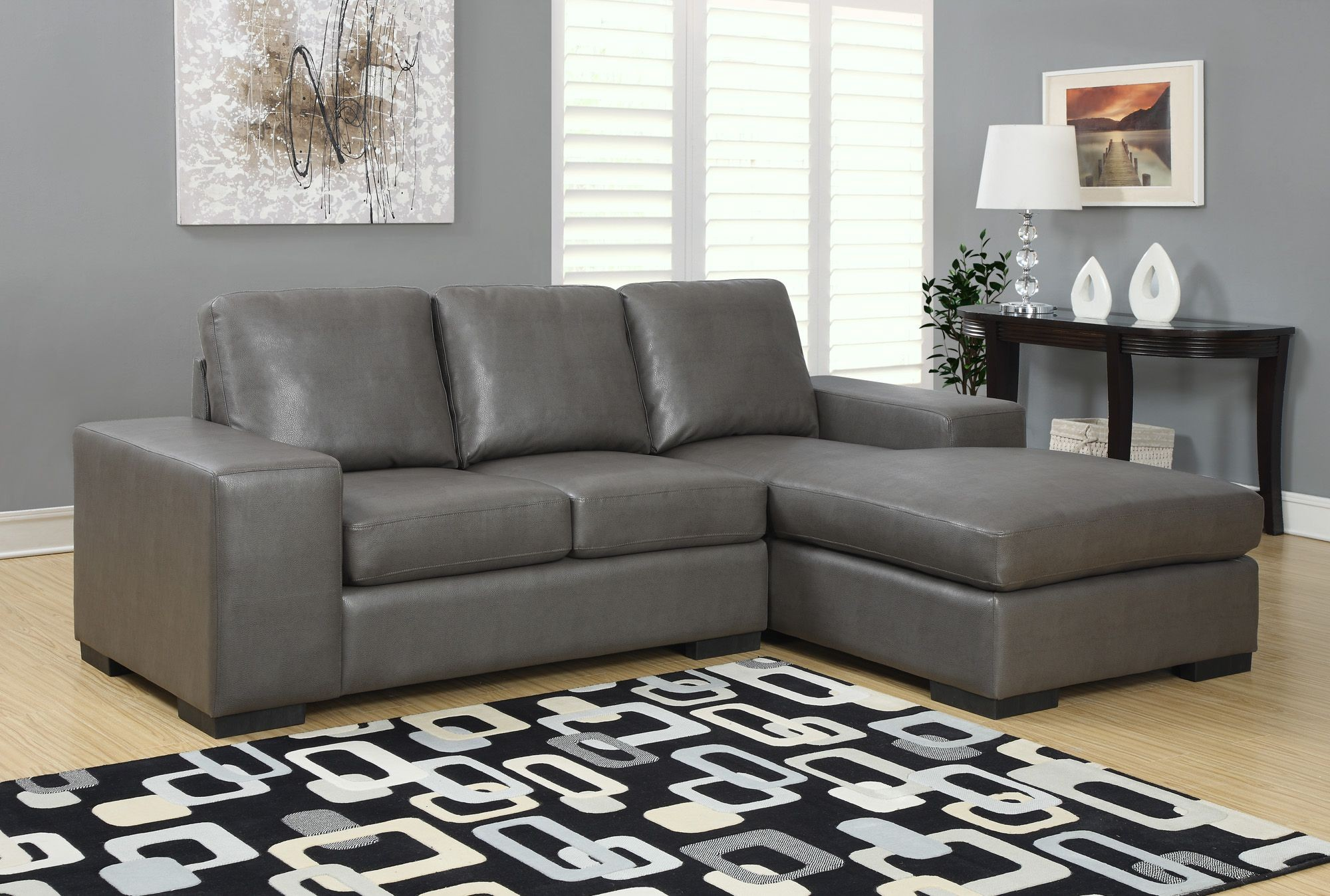 charcoal gray bonded leather match sofa sectional from monarch 8200gy coleman furniture. Black Bedroom Furniture Sets. Home Design Ideas