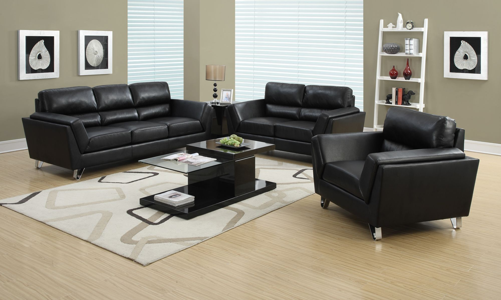 Black bonded leather match sofa from monarch 8203bk for 8 piece leather sectional sofa