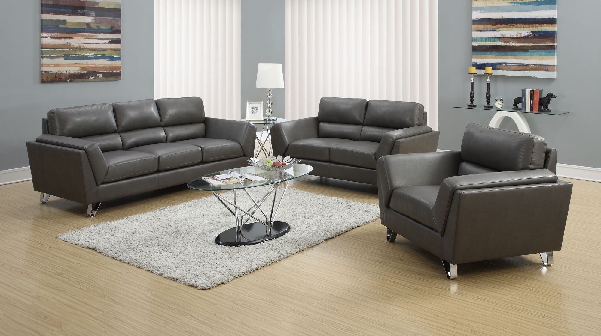 Charcoal Gray Match Sofa 8203GY From Monarch (8203GY