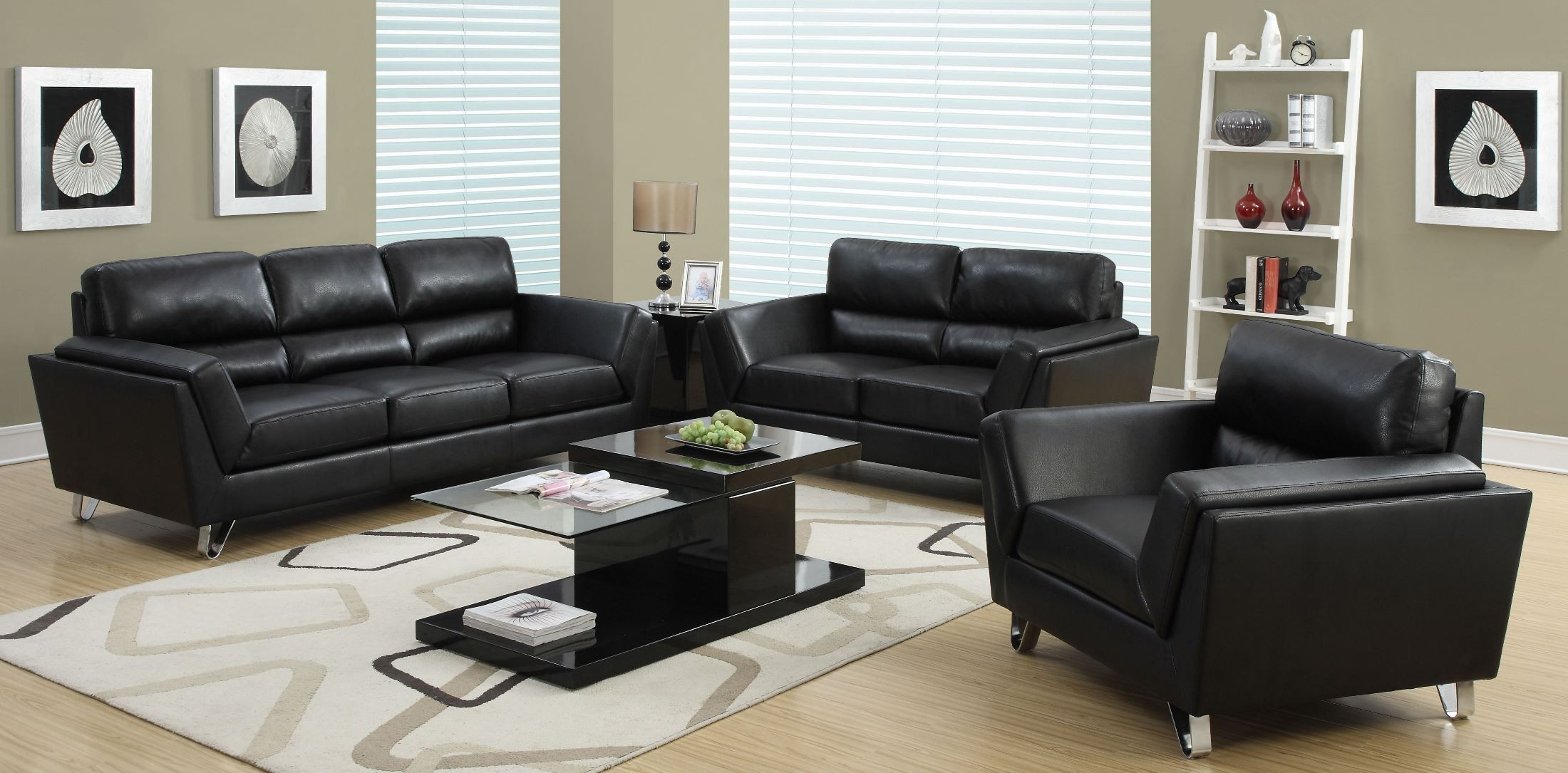Black bonded leather match living room set from monarch for Front room furniture sets
