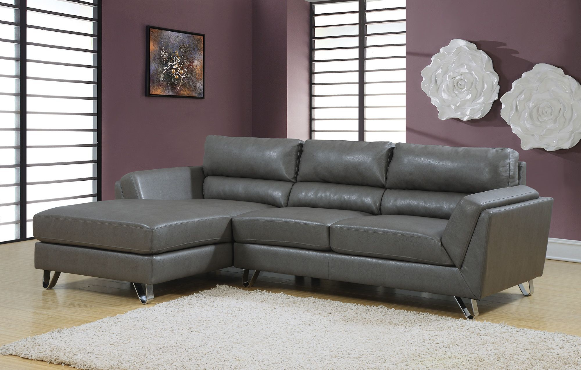 Charcoal gray match sofa sectional from monarch 8210gy for Sofa sectionnel en liquidation