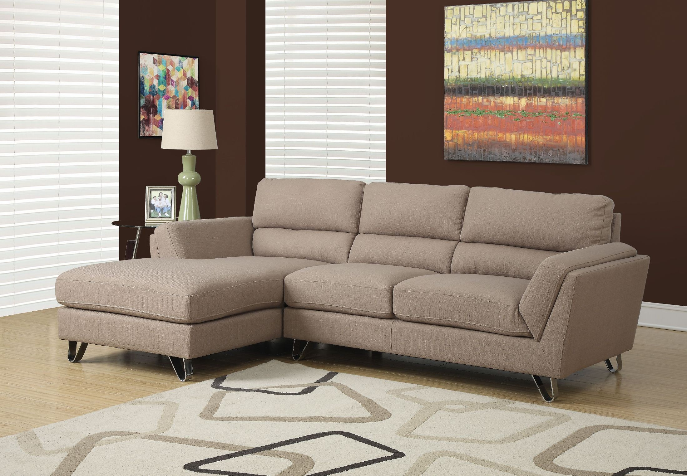 Light Brown Linen Sofa Sectional From Monarch 8210lb