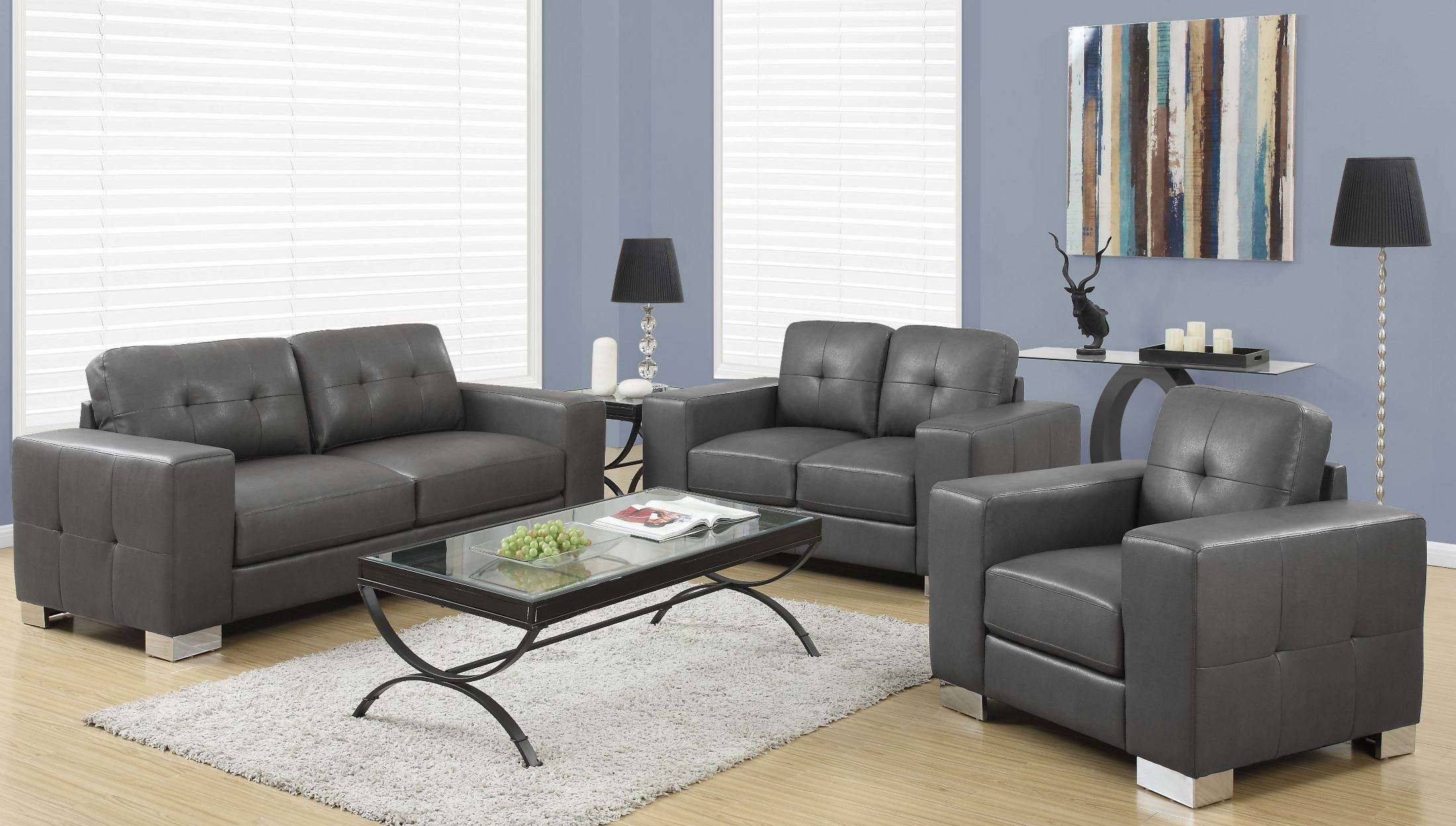 8223gy charcoal gray bonded leather living room set from monarch coleman furniture. Black Bedroom Furniture Sets. Home Design Ideas