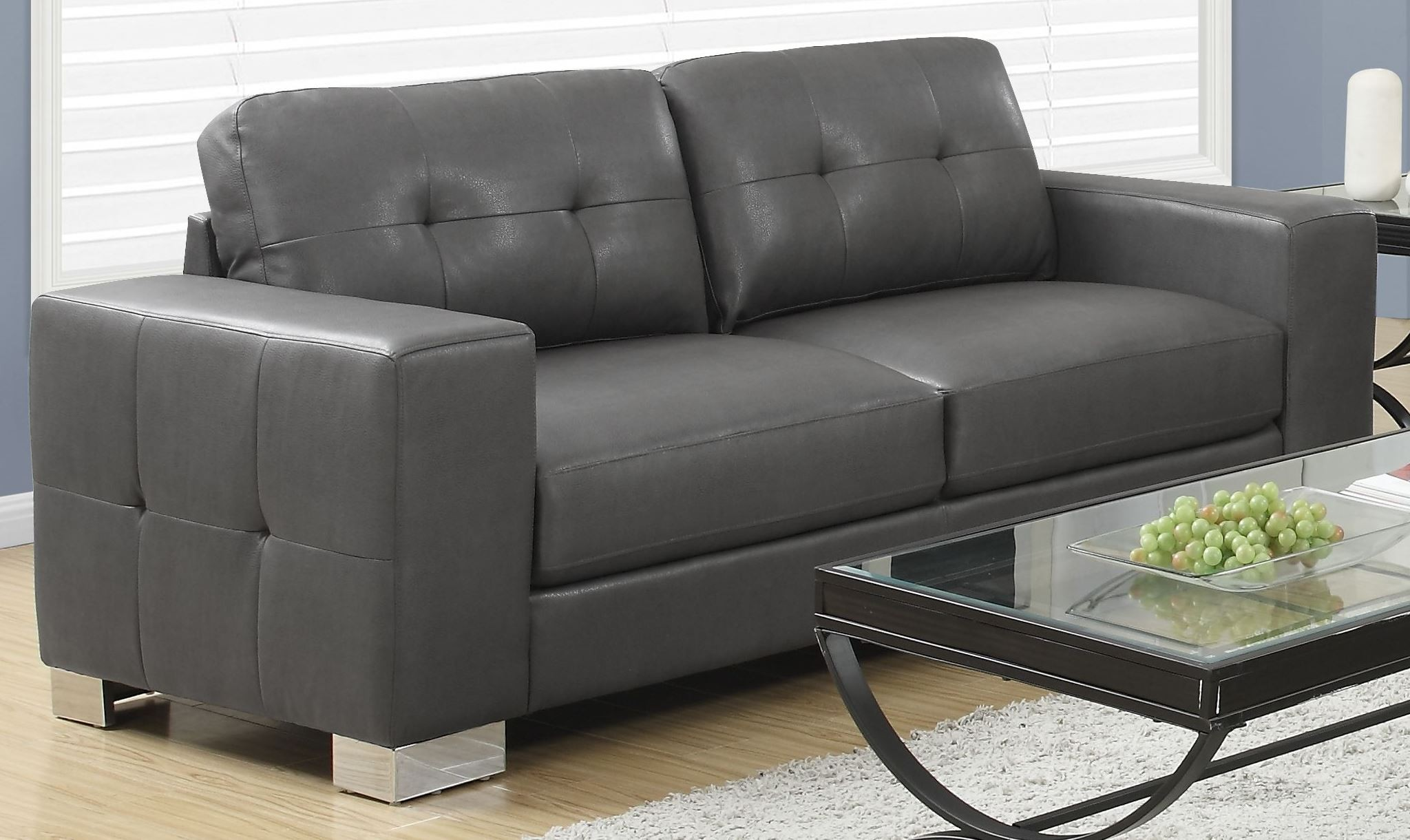 8223gy Charcoal Gray Bonded Leather Sofa From Monarch Coleman Furniture