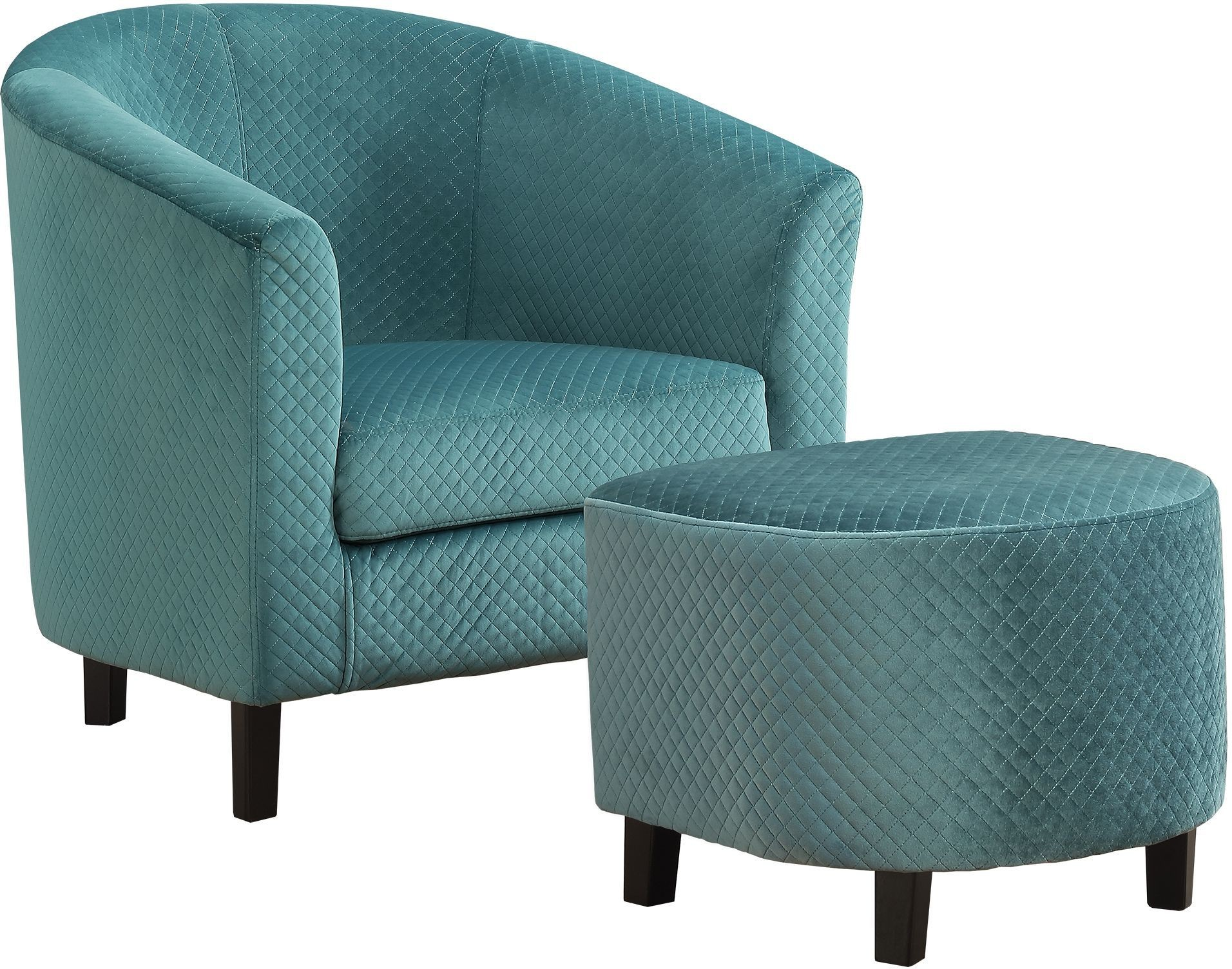 Turquoise Quilted Fabric Accent Chair With Ottoman From