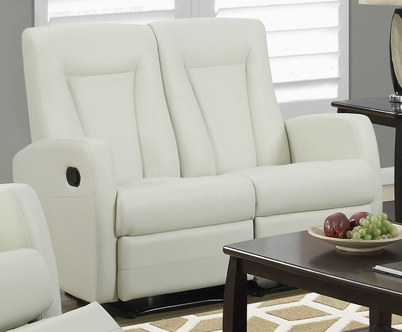 82iv 2 Ivory Bonded Leather Reclining Loveseat From
