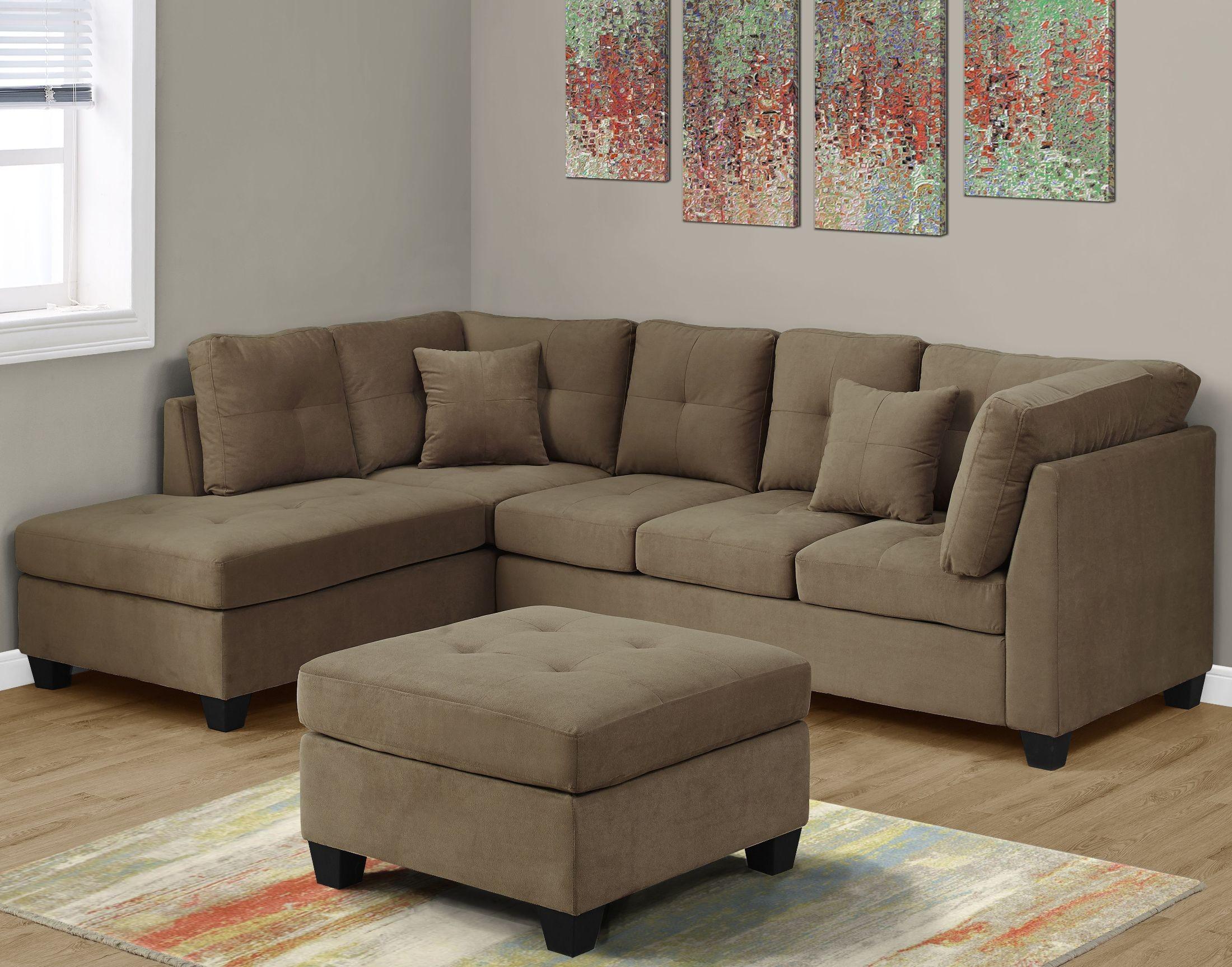 Ultra Soft Light Brown Velvet Sectional Sofa from Monarch