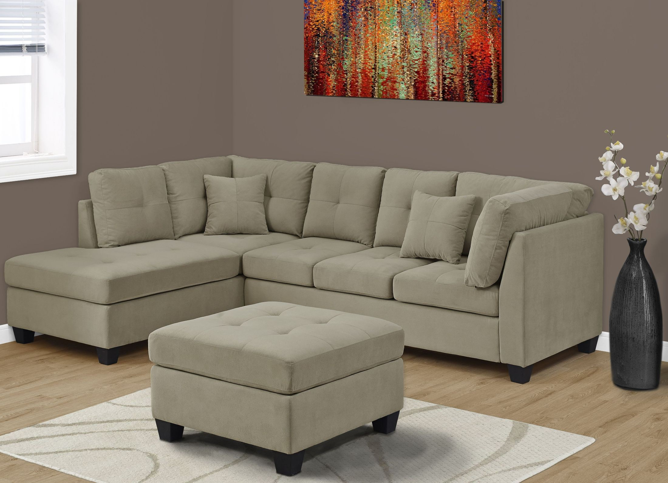 ultra soft taupe velvet sectional sofa