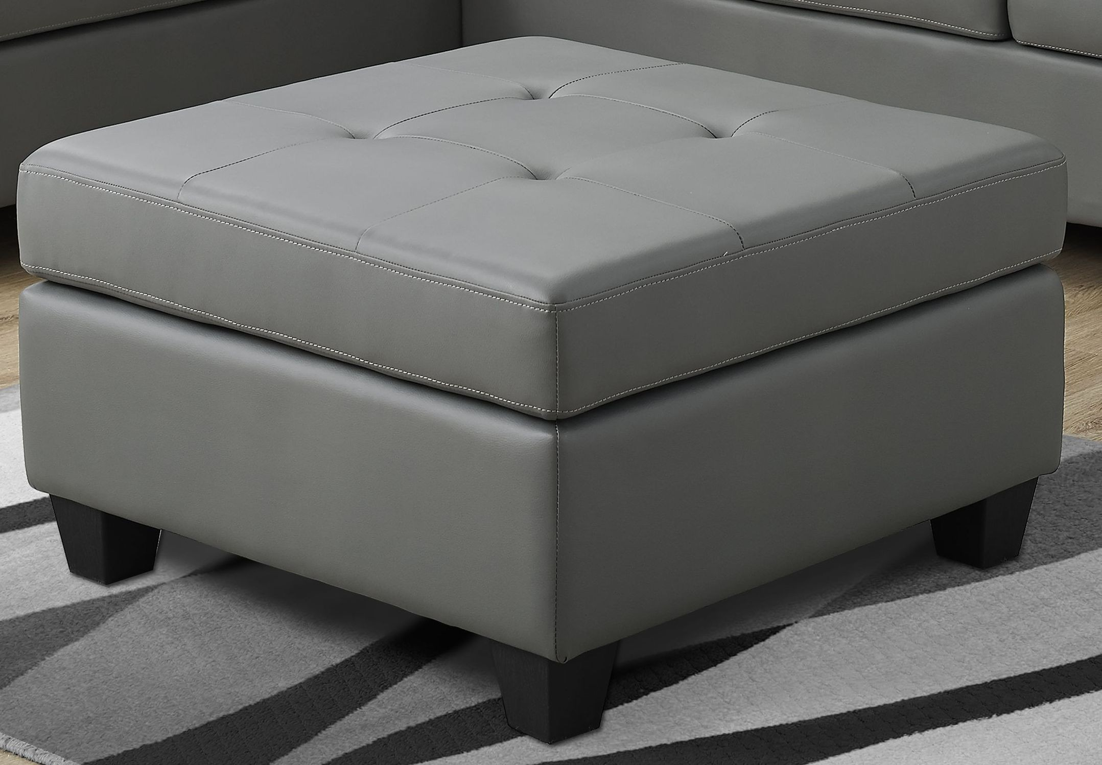 Light Gray Bonded Leather Ottoman From Monarch