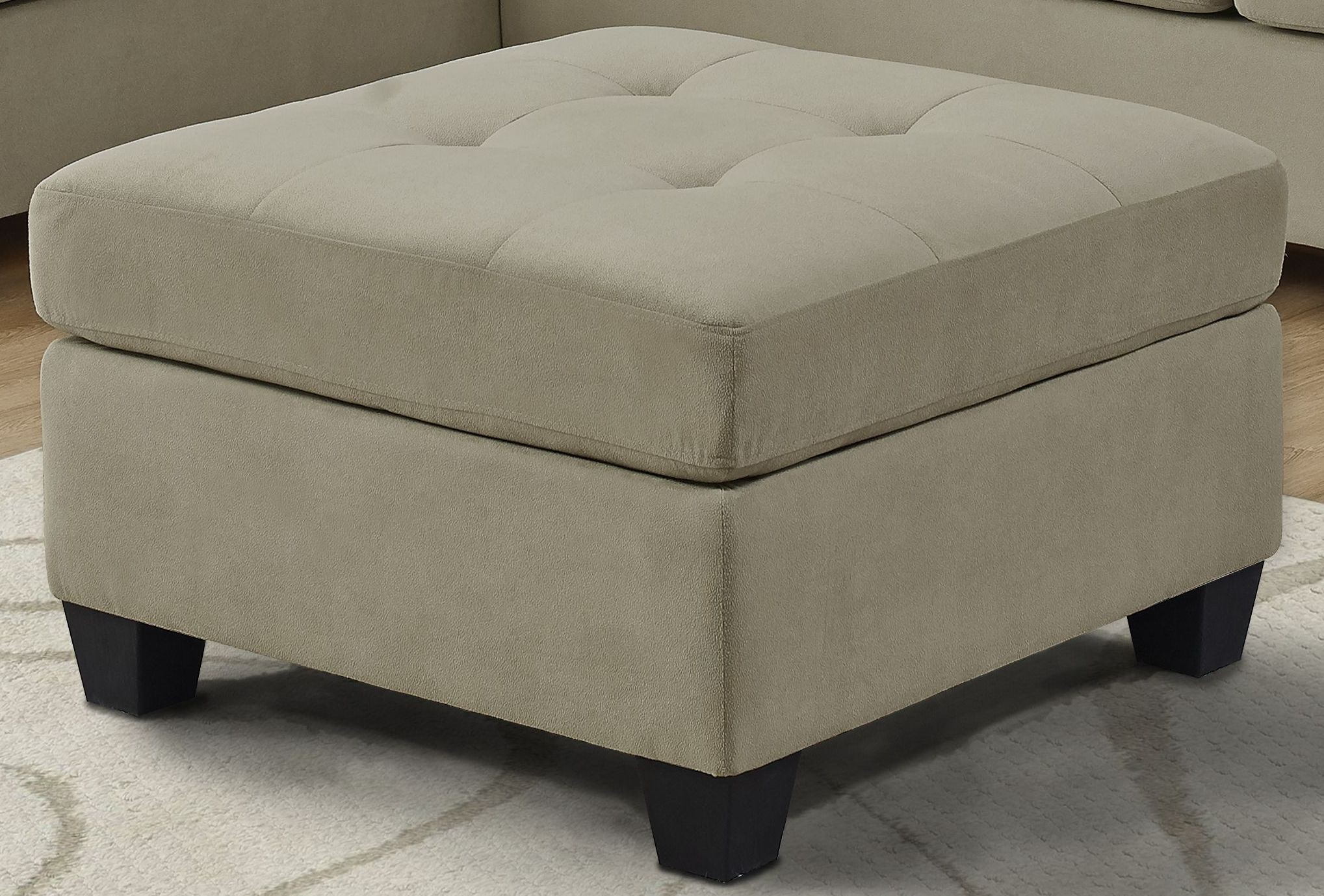 ultra soft taupe velvet ottoman from monarch coleman furniture. Black Bedroom Furniture Sets. Home Design Ideas