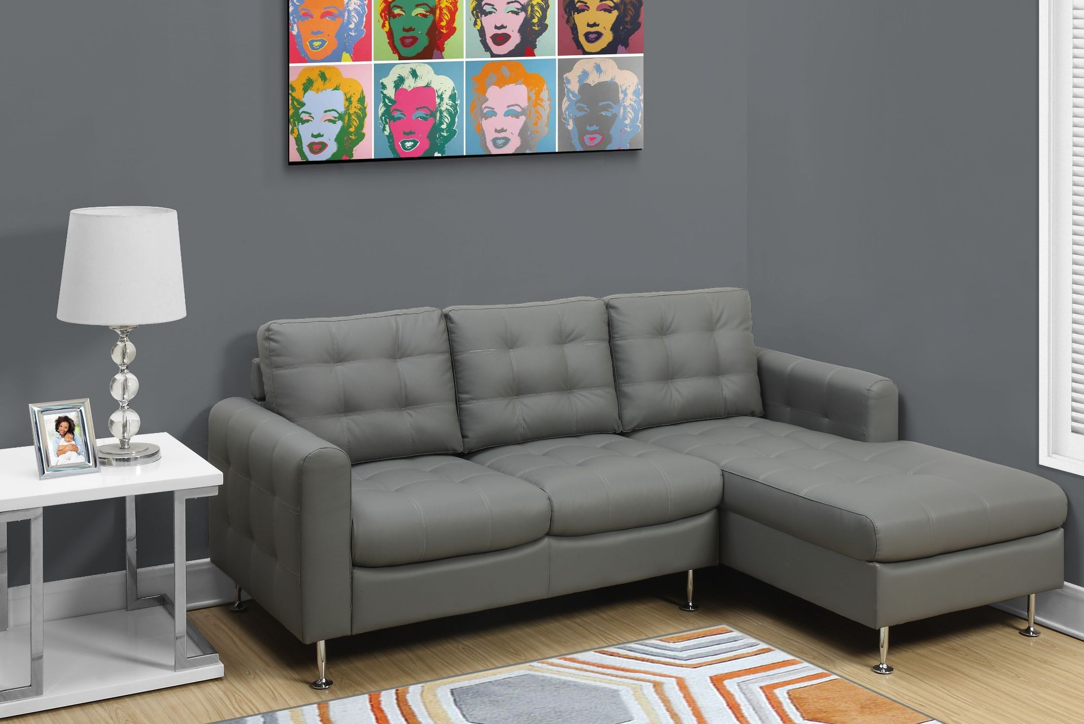 Light gray bonded leather and chrome sofa lounger from for Light gray leather sofa